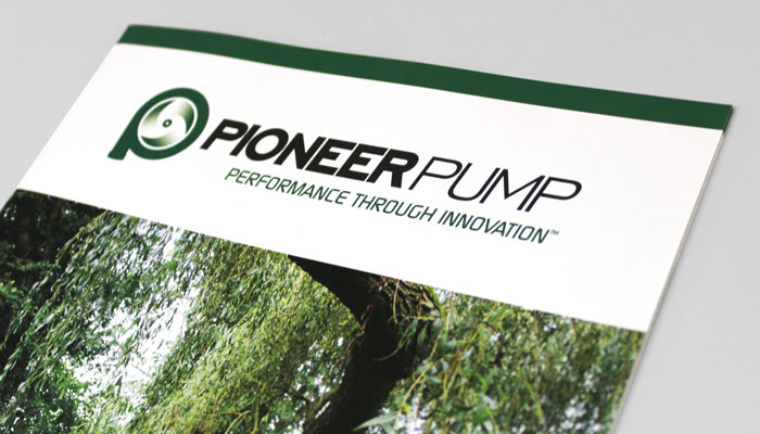 Corporate brochure cover design for Pioneer Pump in Suffolk, UK.