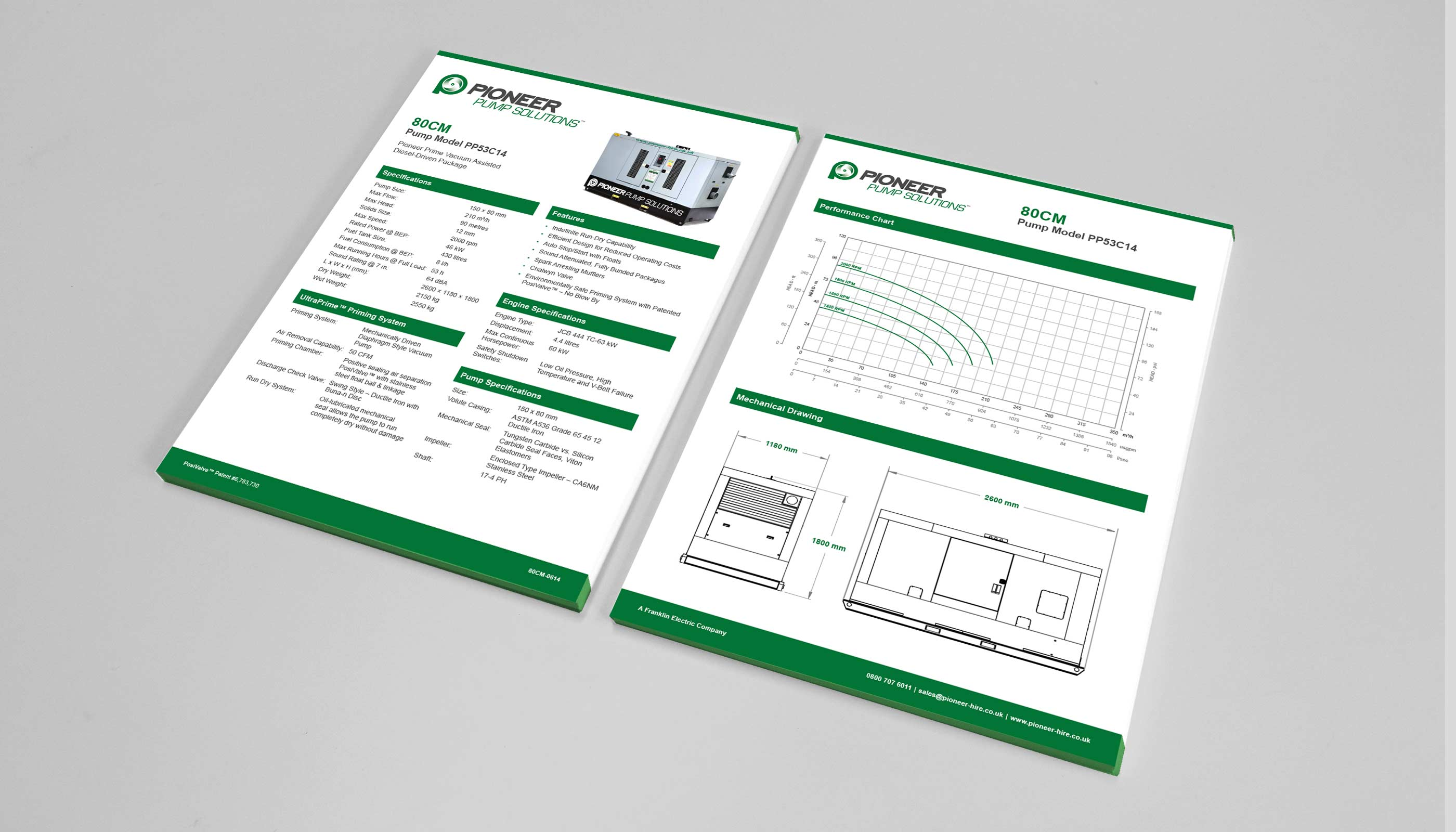 Technical product data sheets design and print for Pioneer Pump in Suffolk, UK.