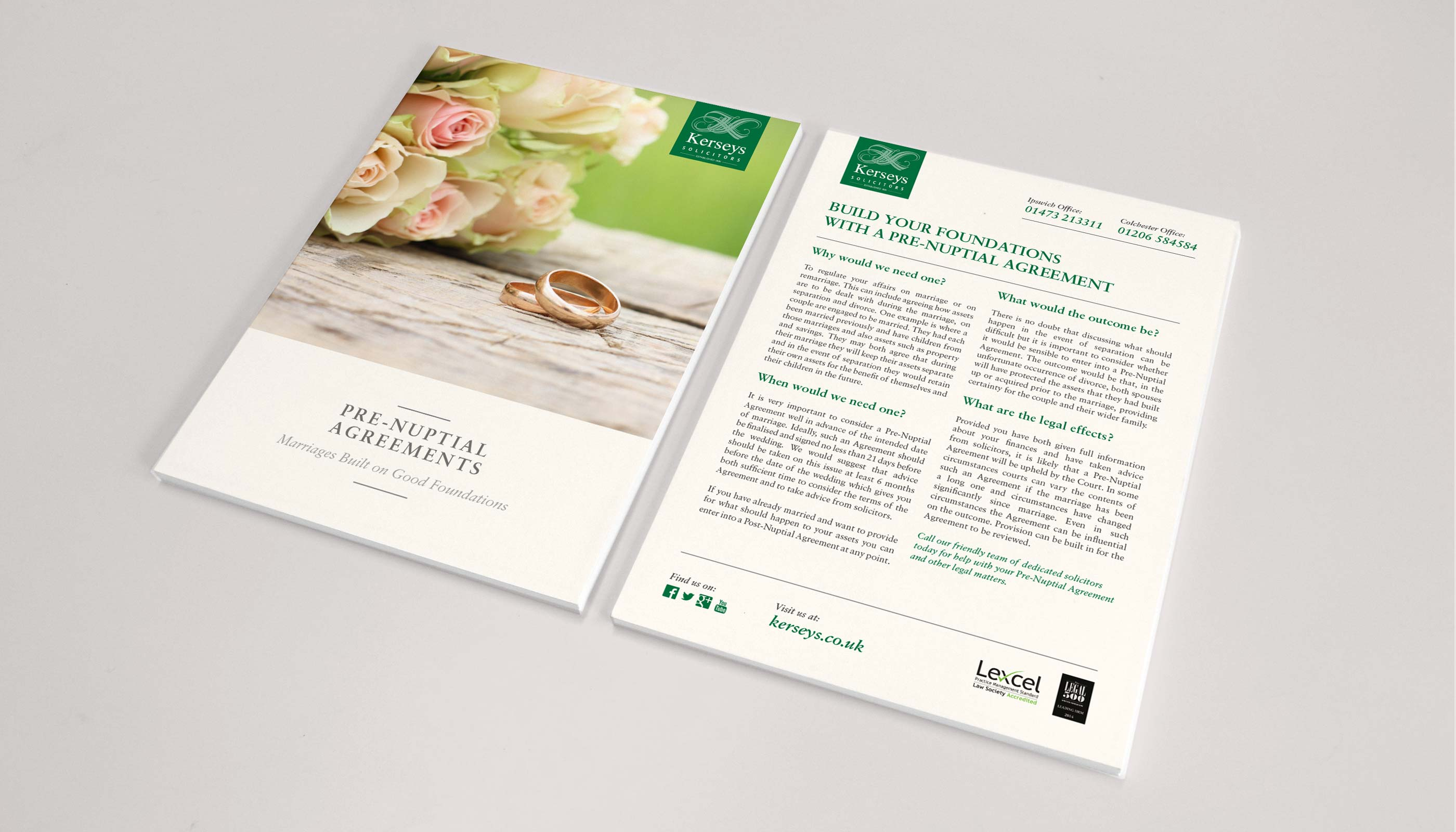 Flyer design and print for Kerseys Solicitors Pre Nuptial Agreement service in Ipswich, Suffolk.