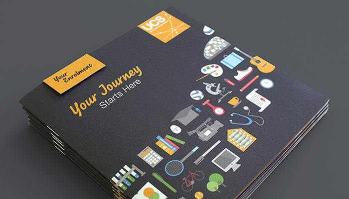 Brochure cover design for University Campus Suffolk.