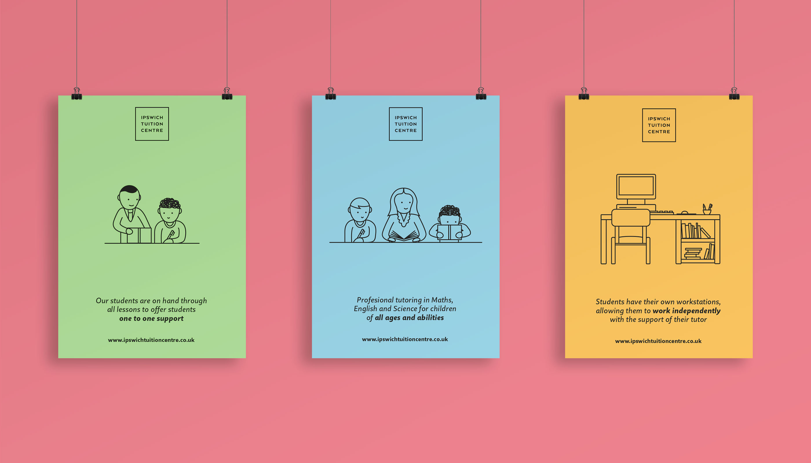Poster designs for Ipswich Tuition Centre.