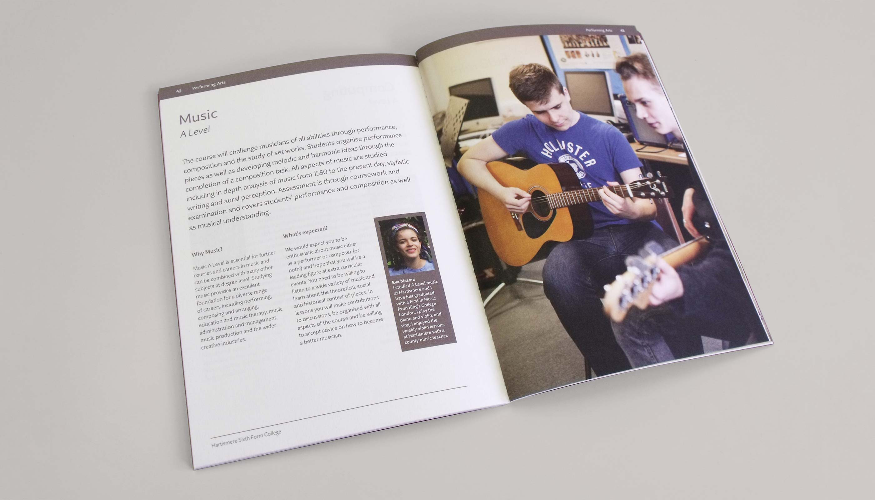 2014 Prospectus design and printl; music course page for Hartismere Sixth Form College in Eye, Suffolk.