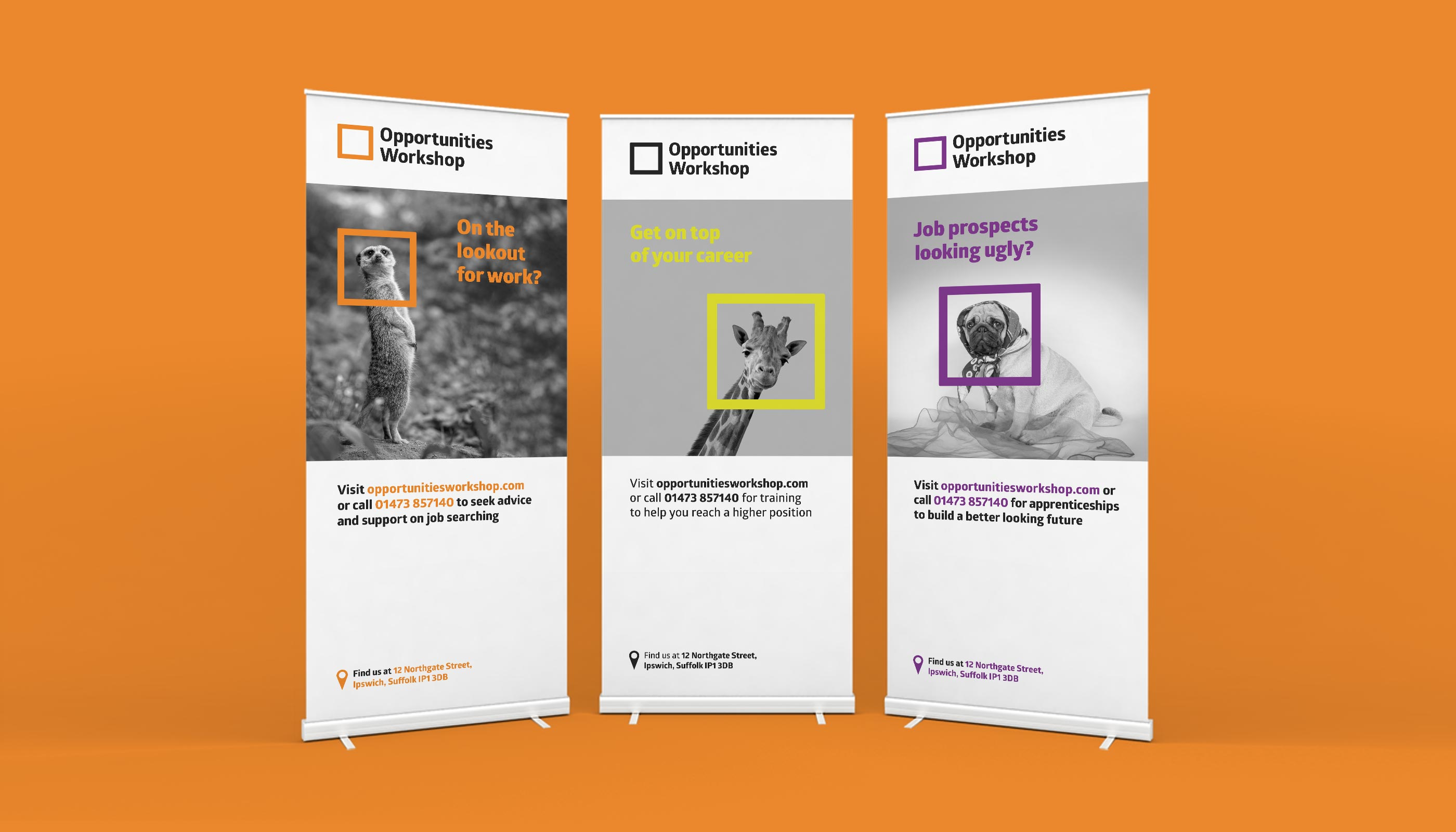 Roller banner design and print for Opportunities Workshop in Ipswich, Suffolk.