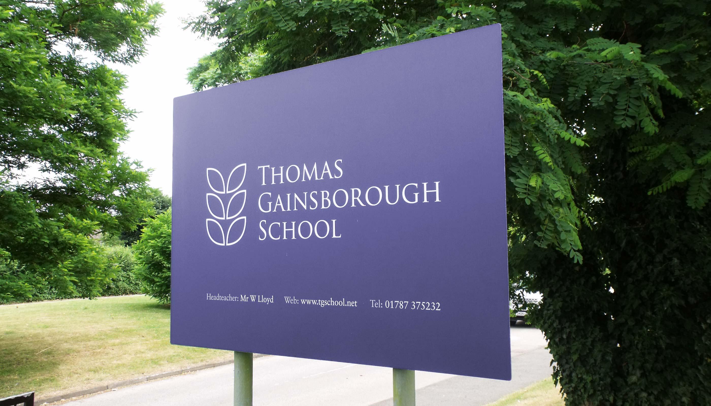 Signage design for Thomas Gainsborough School in Sudbury, Suffolk.