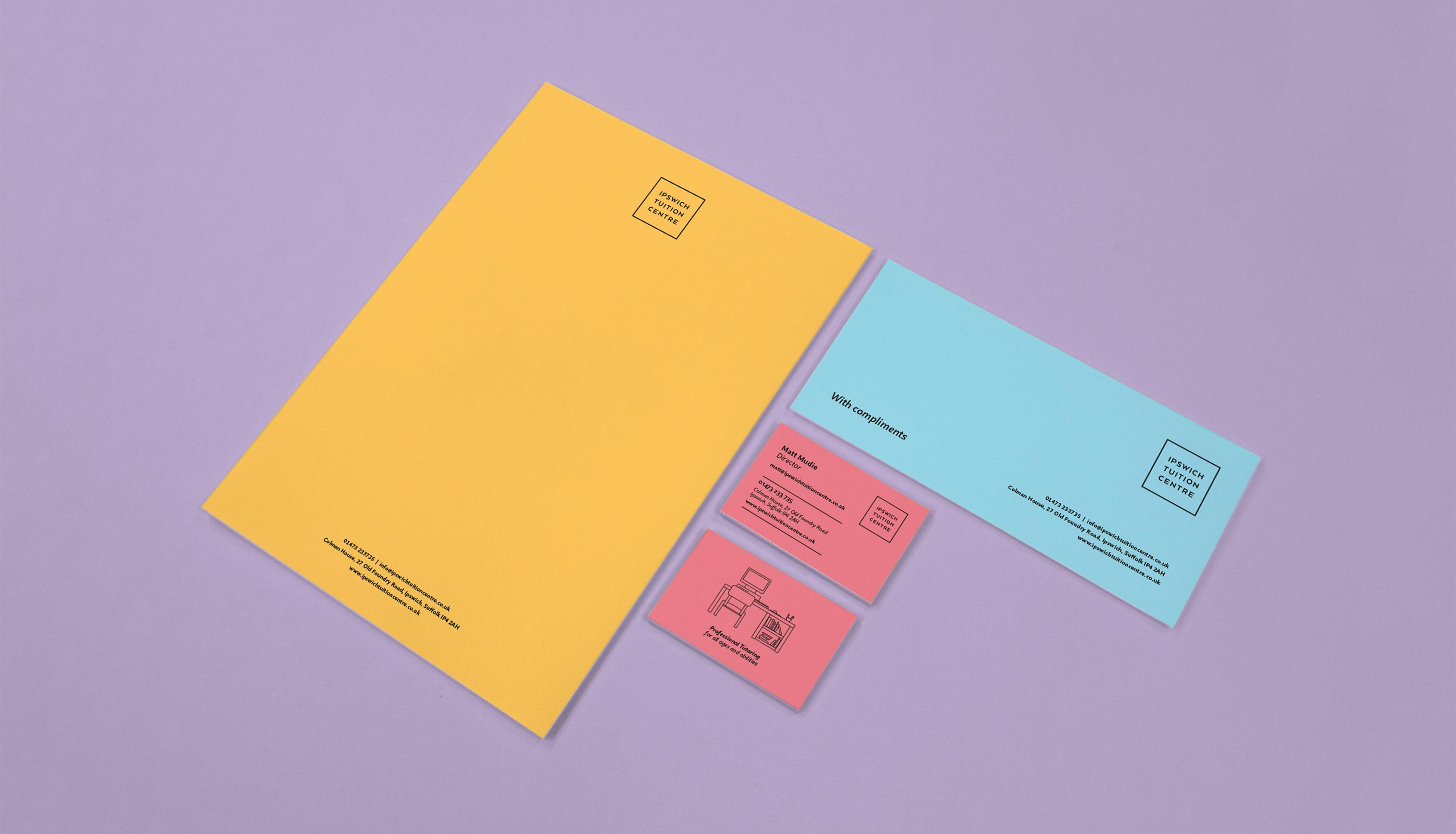 Stationery design and print for Ipswich Tuition Centre.