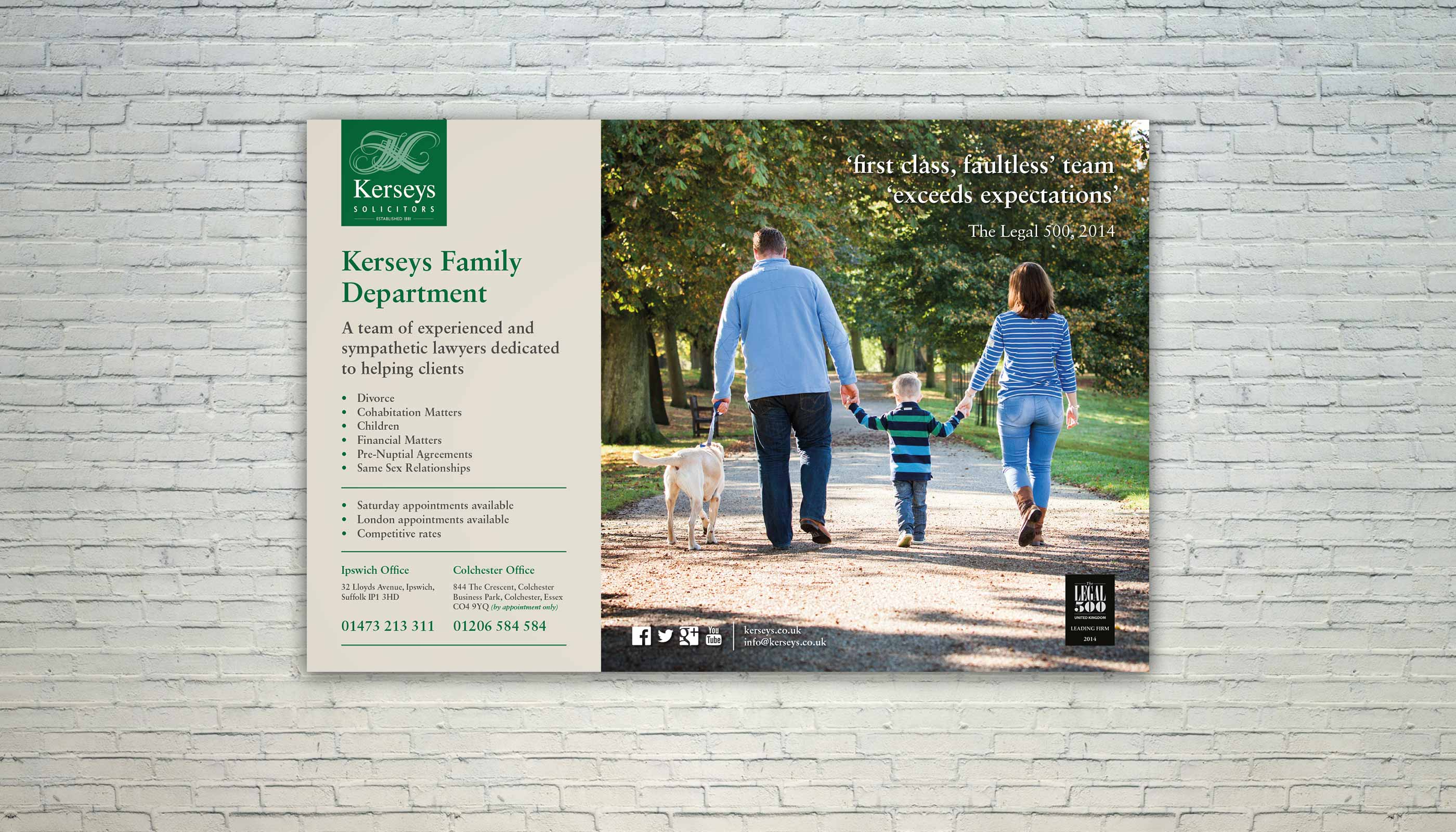 Train poster advert design for Kerseys Solicitors in Ipswich, Suffolk.