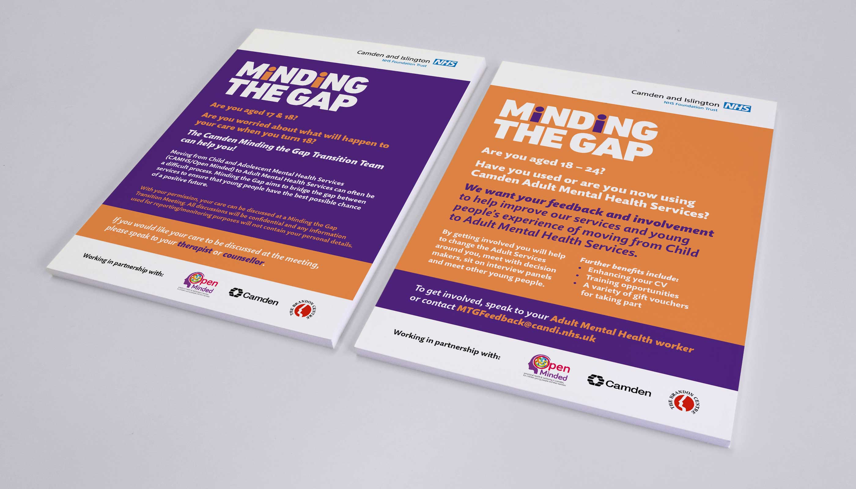 Flyer designs for Camden and Islington NHS Foundation Trust in London.