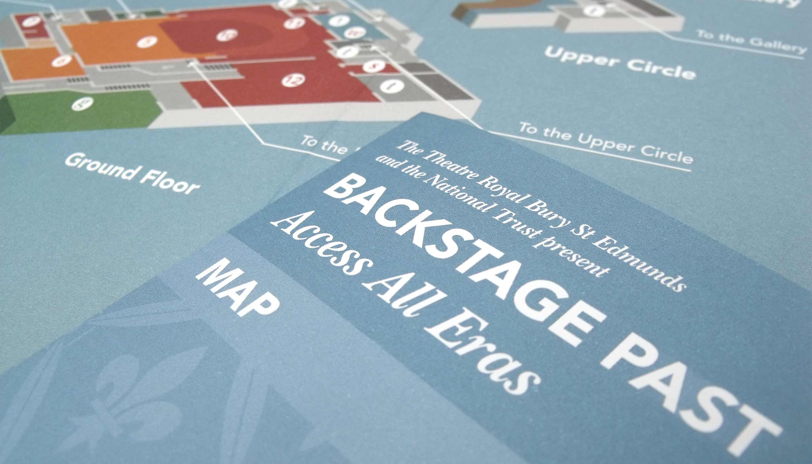 Leaflet and map design for adult tour at Theatre Royal in Bury St Edmunds, Suffolk.