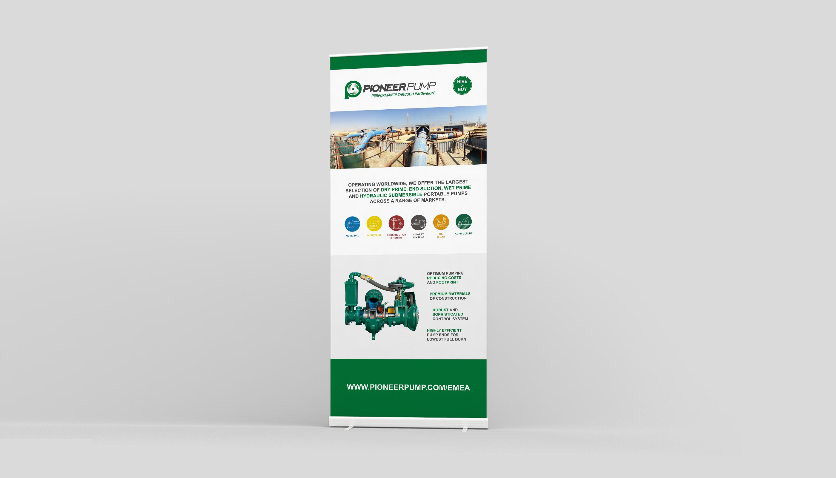 Roll up banner design for Pioneer Pump in Suffolk, UK.