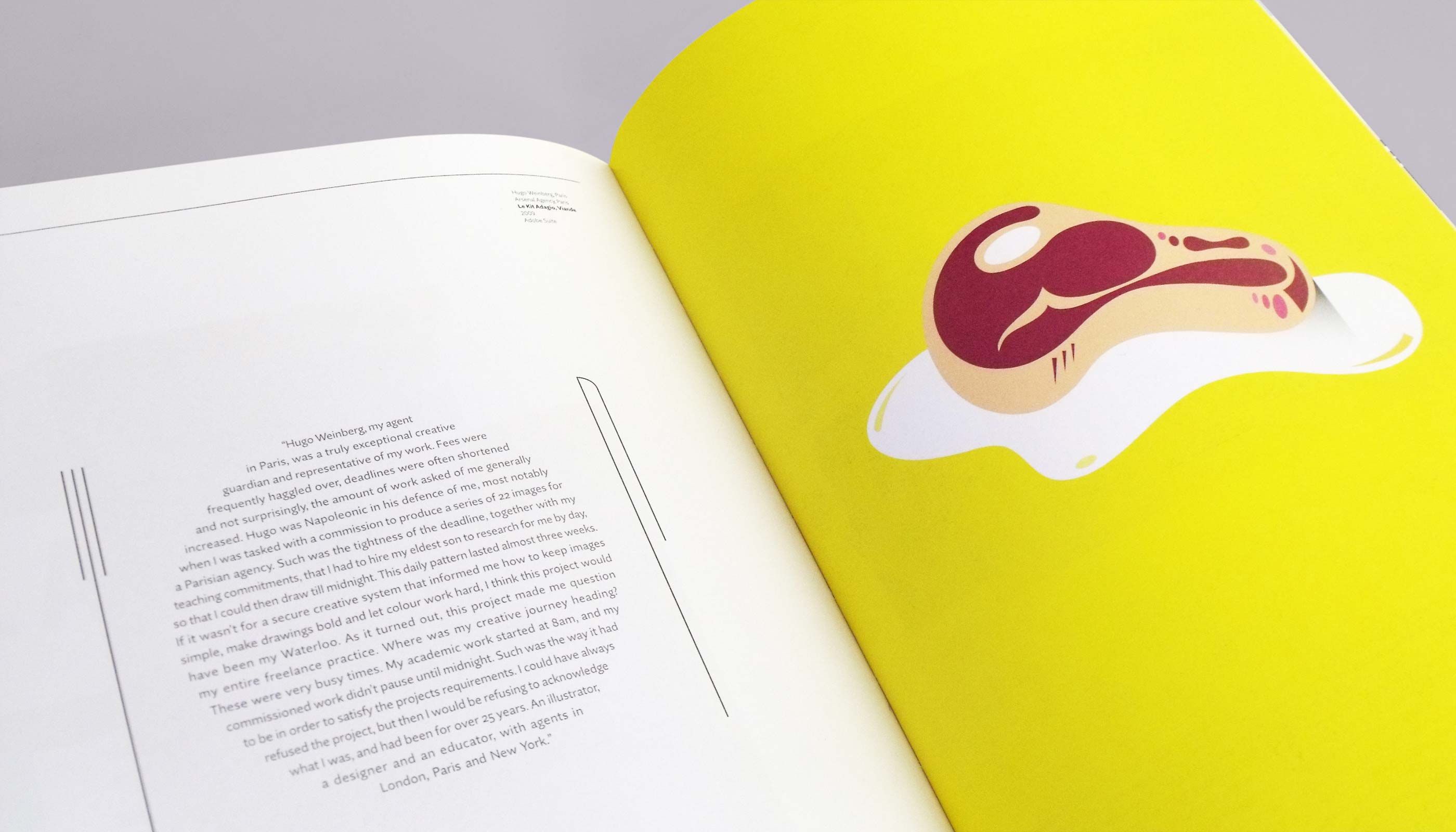 Book design, Le Kit Adagio, Viande spread of Russell Walkers scribble book.