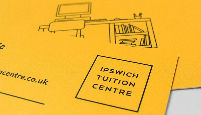 Business card design and print for Ipswich Tuition Centre in Ipswich, Suffolk.