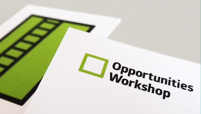 Business card design and print for Opportunities Workshop in Ipswich, Suffolk.