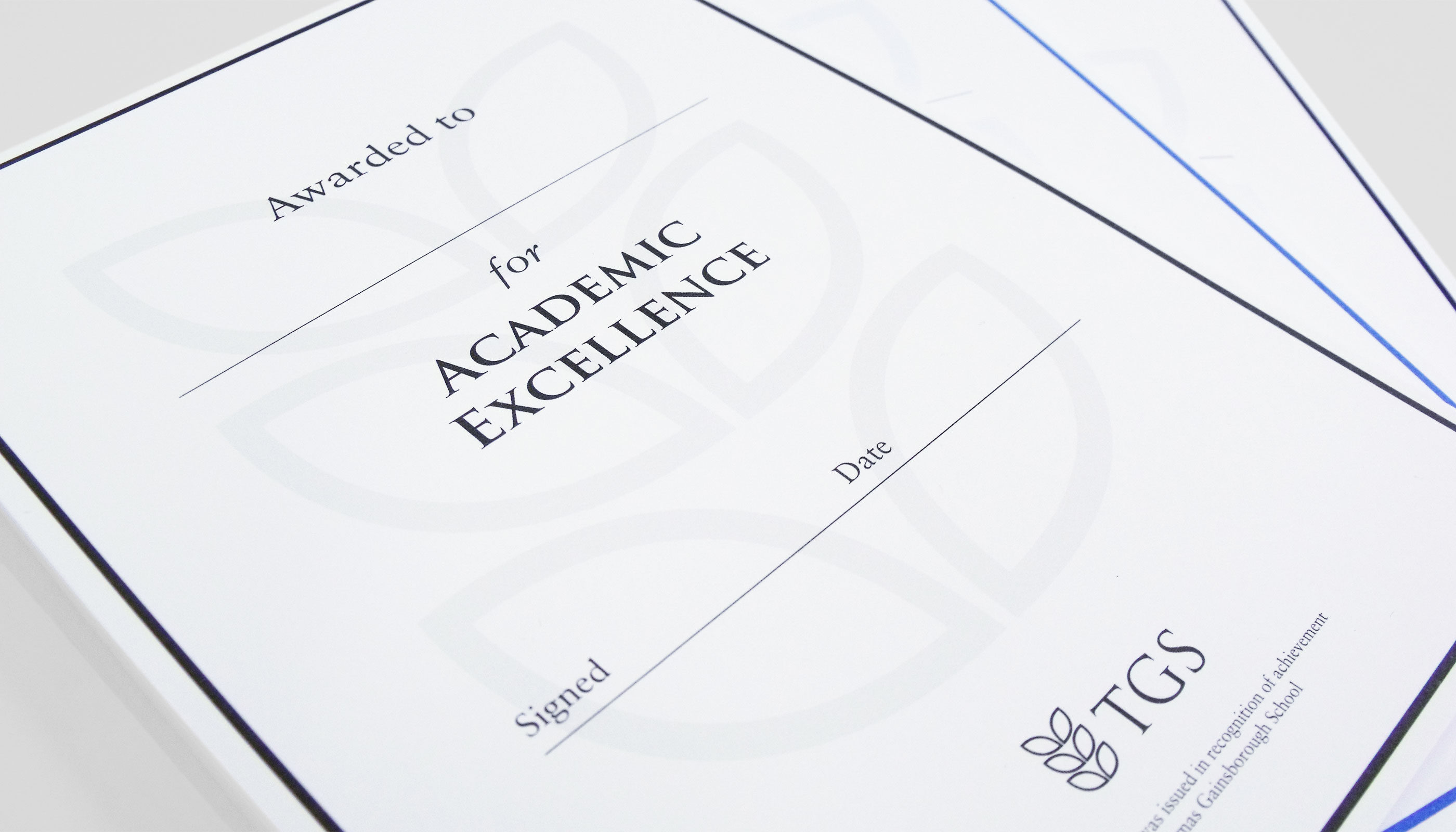 Certificate design and print for Thomas Gainsborough School in Sudbury, Suffolk.
