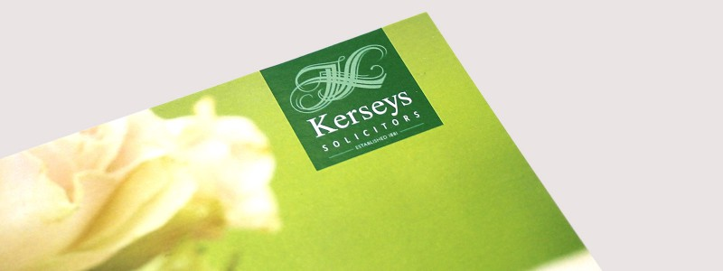 Flyer design and print for Kerseys Solicitors Pre Nuptial Agreement service in Ipswich.