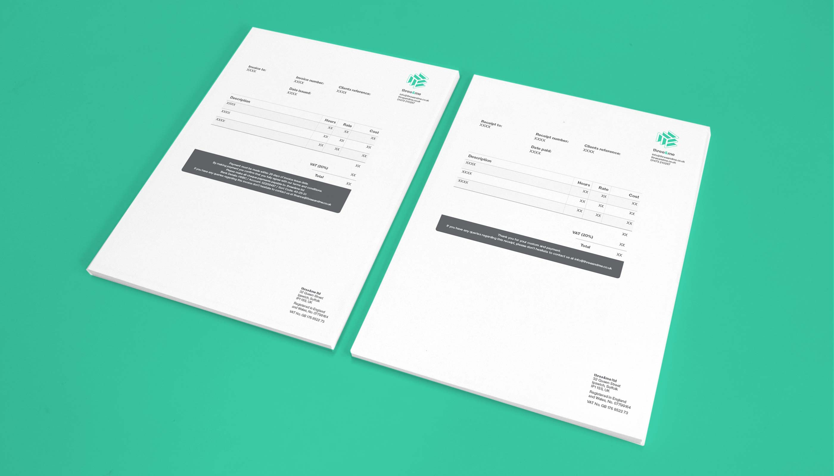 Invoice and receipt design for Three&me graphic design agency in Ipswich, Suffolk.