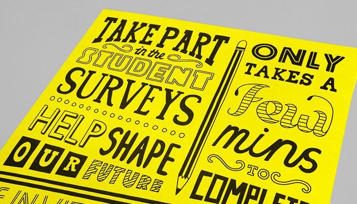 Typographic poster design and print for the 2016 student surveys at University Campus Suffolk.