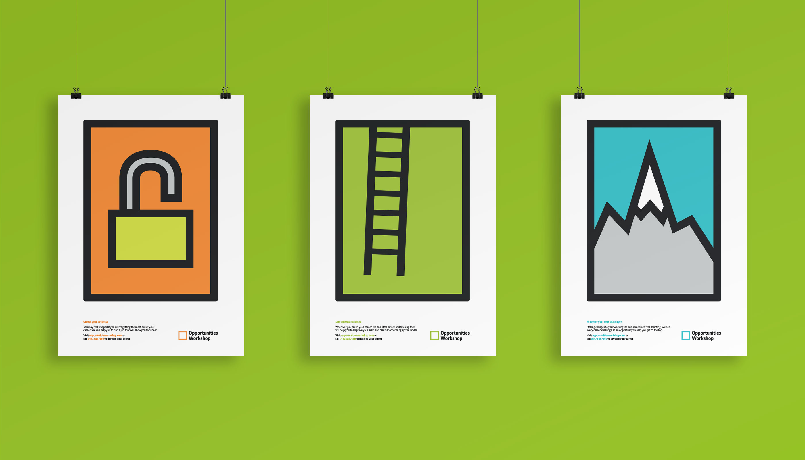 Poster design and print for Opportunities Workshop in Ipswich, Suffolk.