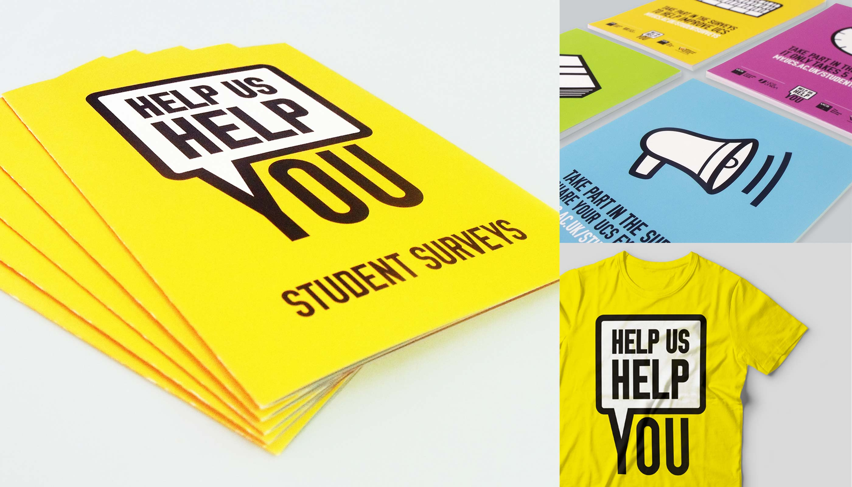 Leaflet and poster design and print, and t-shirt design for the 2014 student surveys at University Campus Suffolk