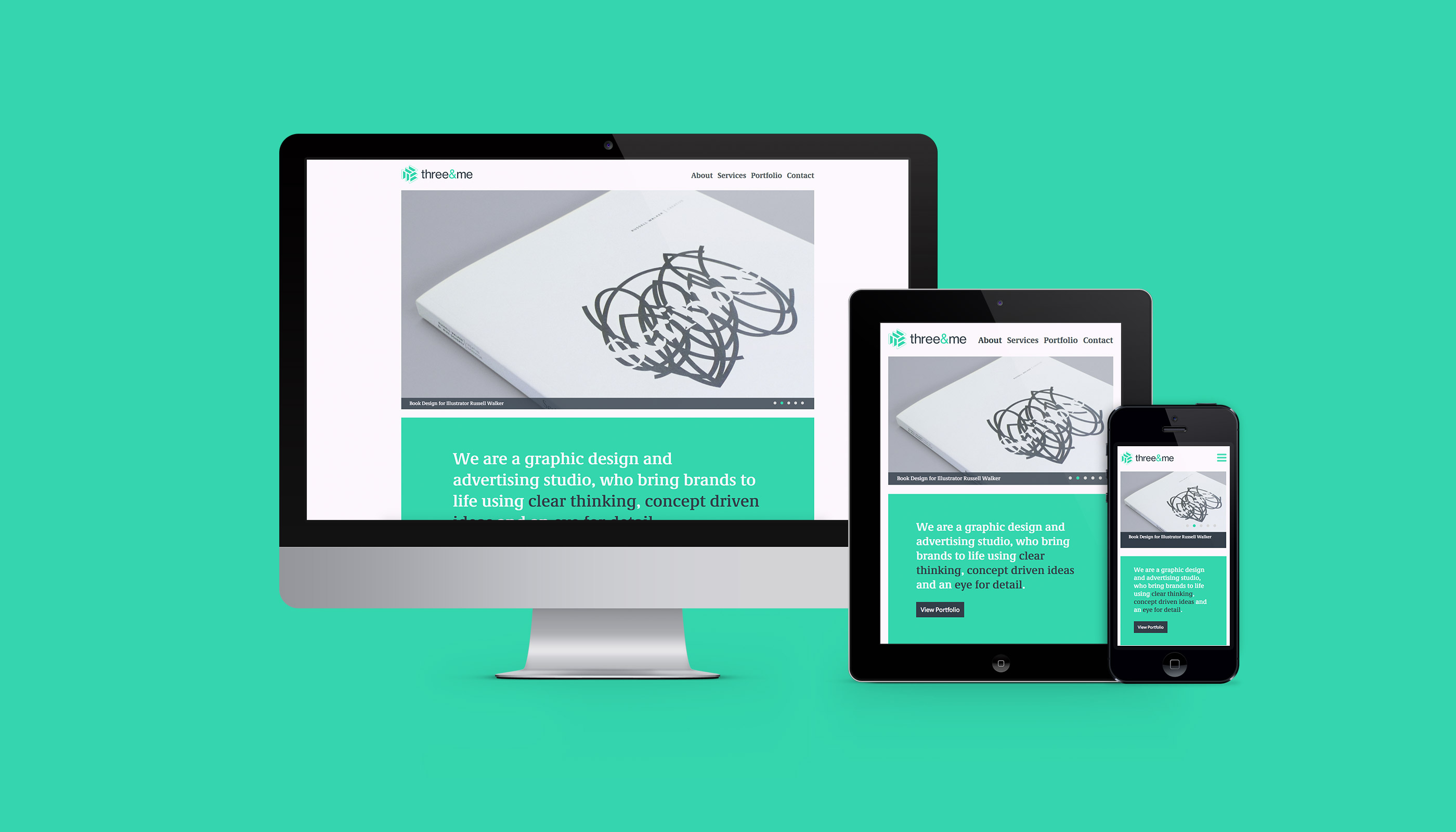 Responsive website design for Three&me graphic design agency in Ipswich, Suffolk.
