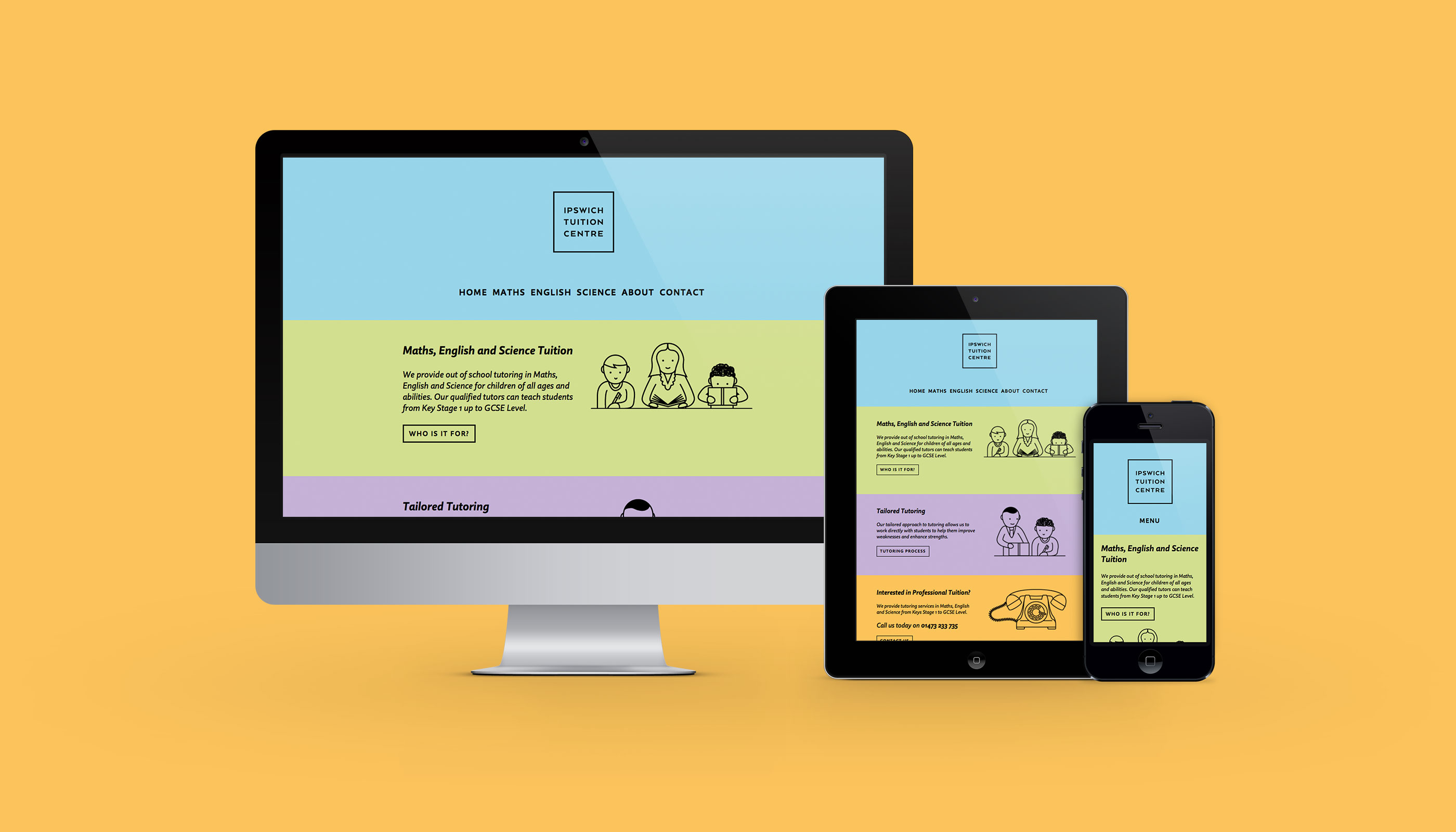 Responsive website design for Ipswich Tuition Centre.