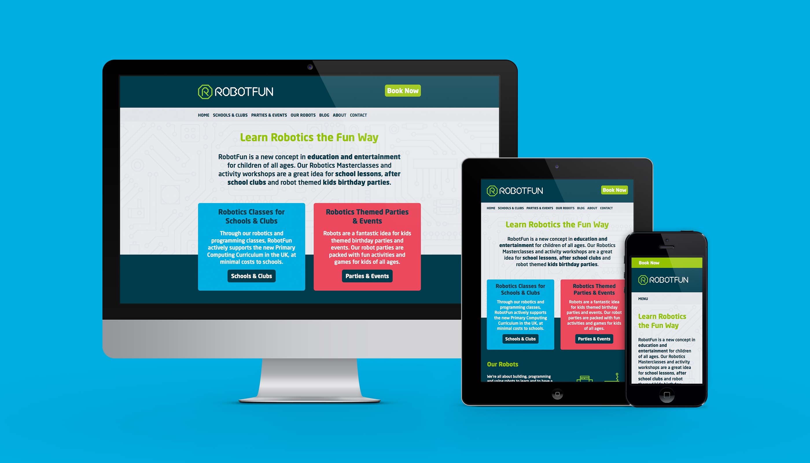 Responsive website design for RobotFun in Ipswich, Suffolk.
