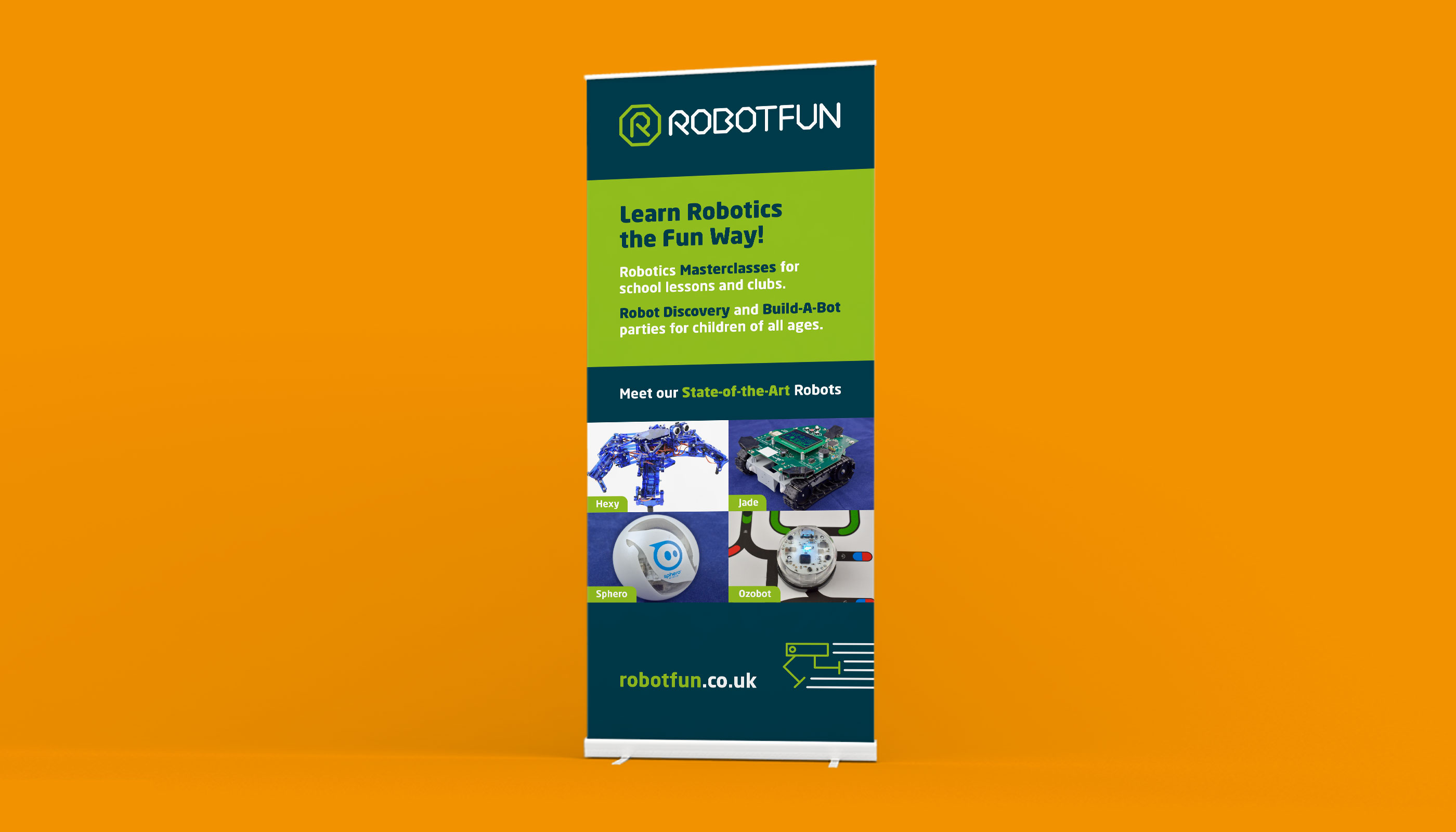 Roller banner design and print for RobotFun in Ipswich, Suffolk.