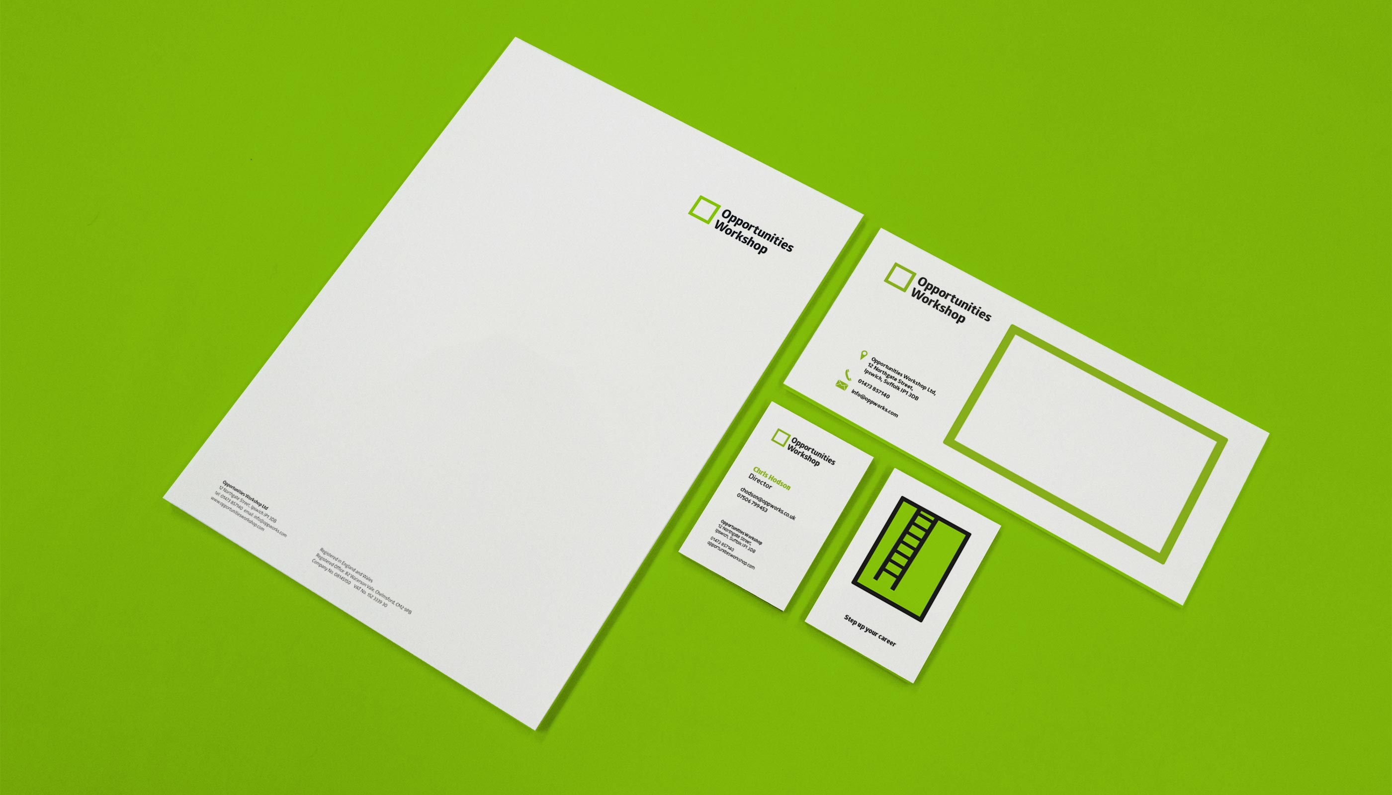 Stationery design and print for Opportunities Workshop in Ipswich, Suffolk.