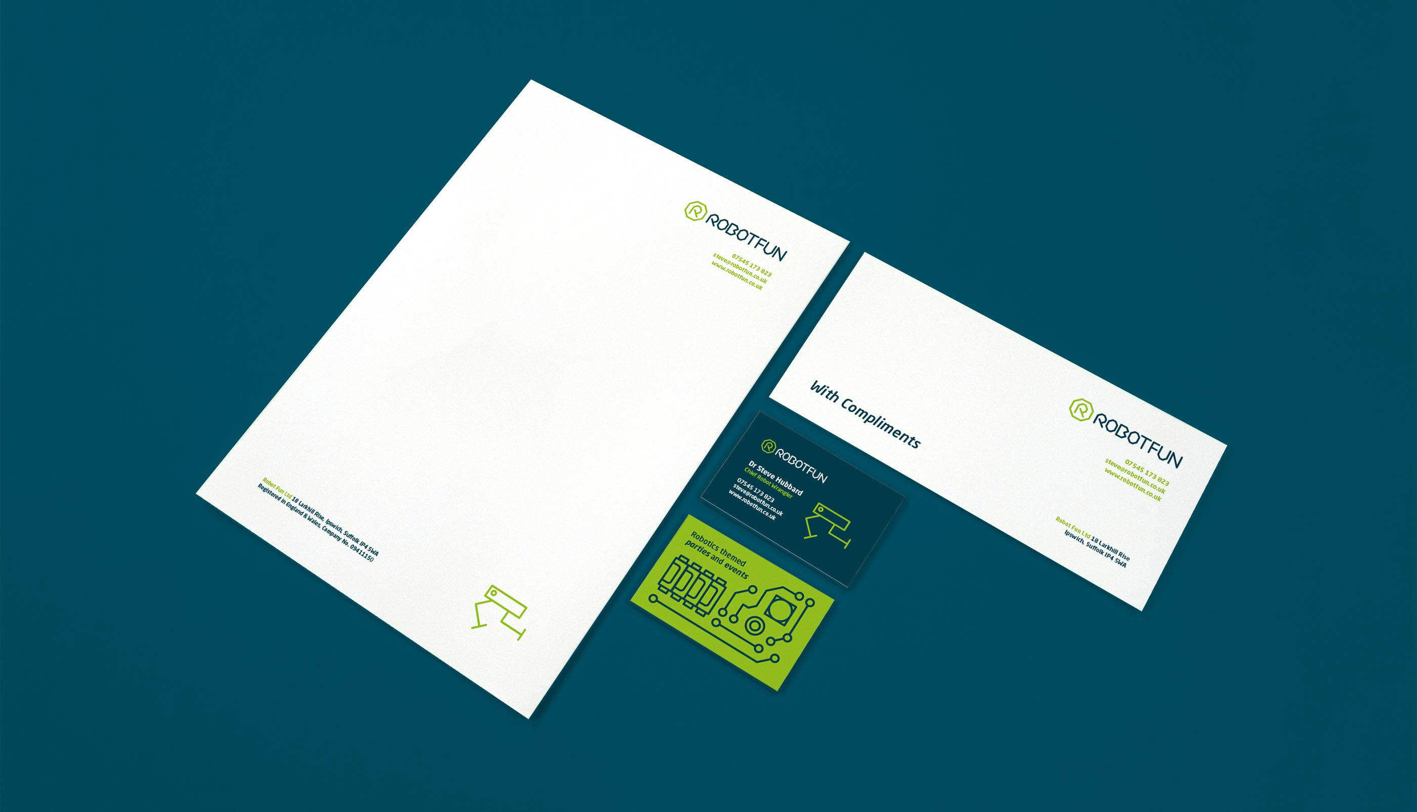 Stationery design and print for RobotFun in Ipswich, Suffolk.