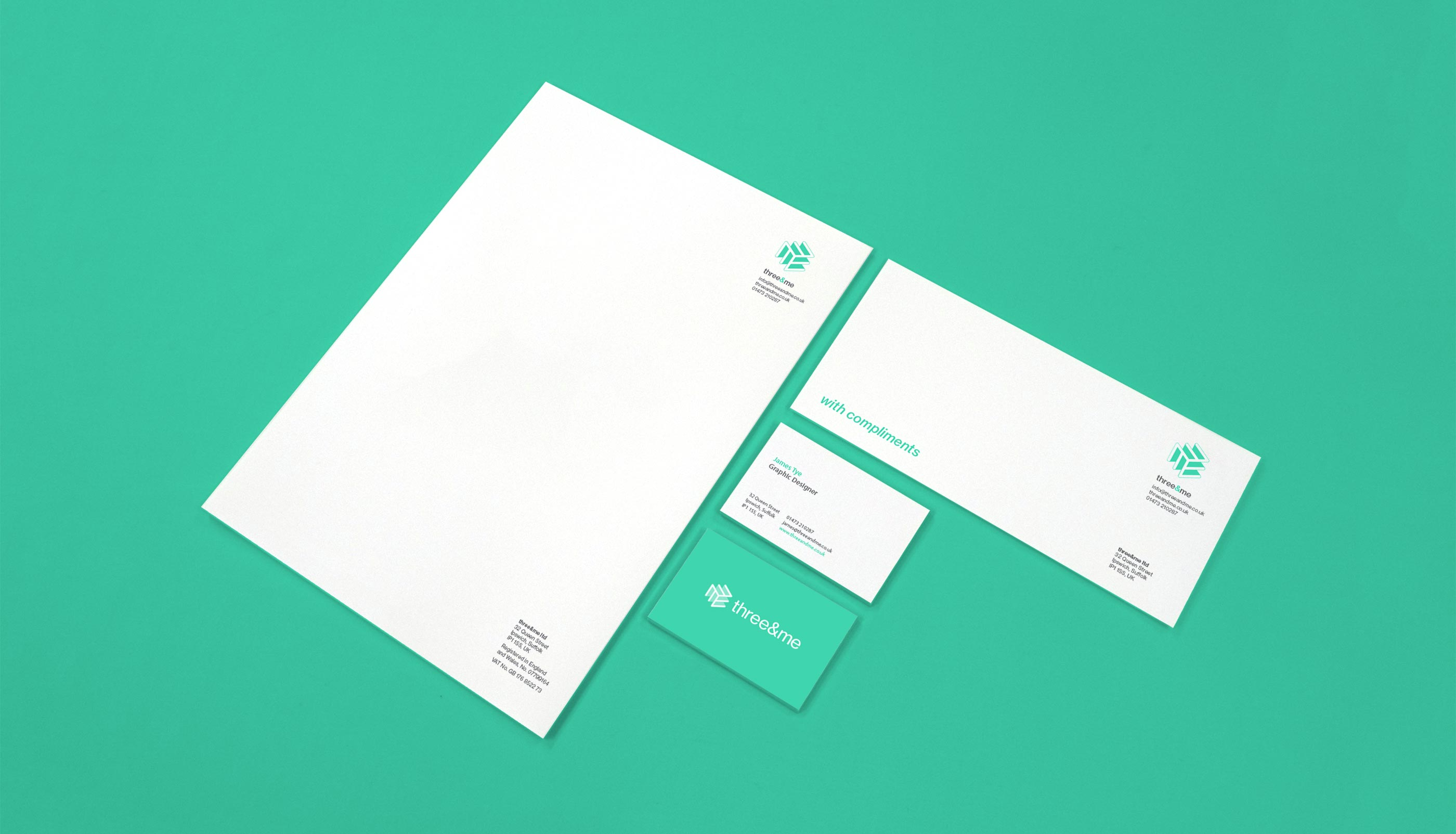 Business stationery design and print for Three&me graphic design agency in Ipswich, Suffolk.