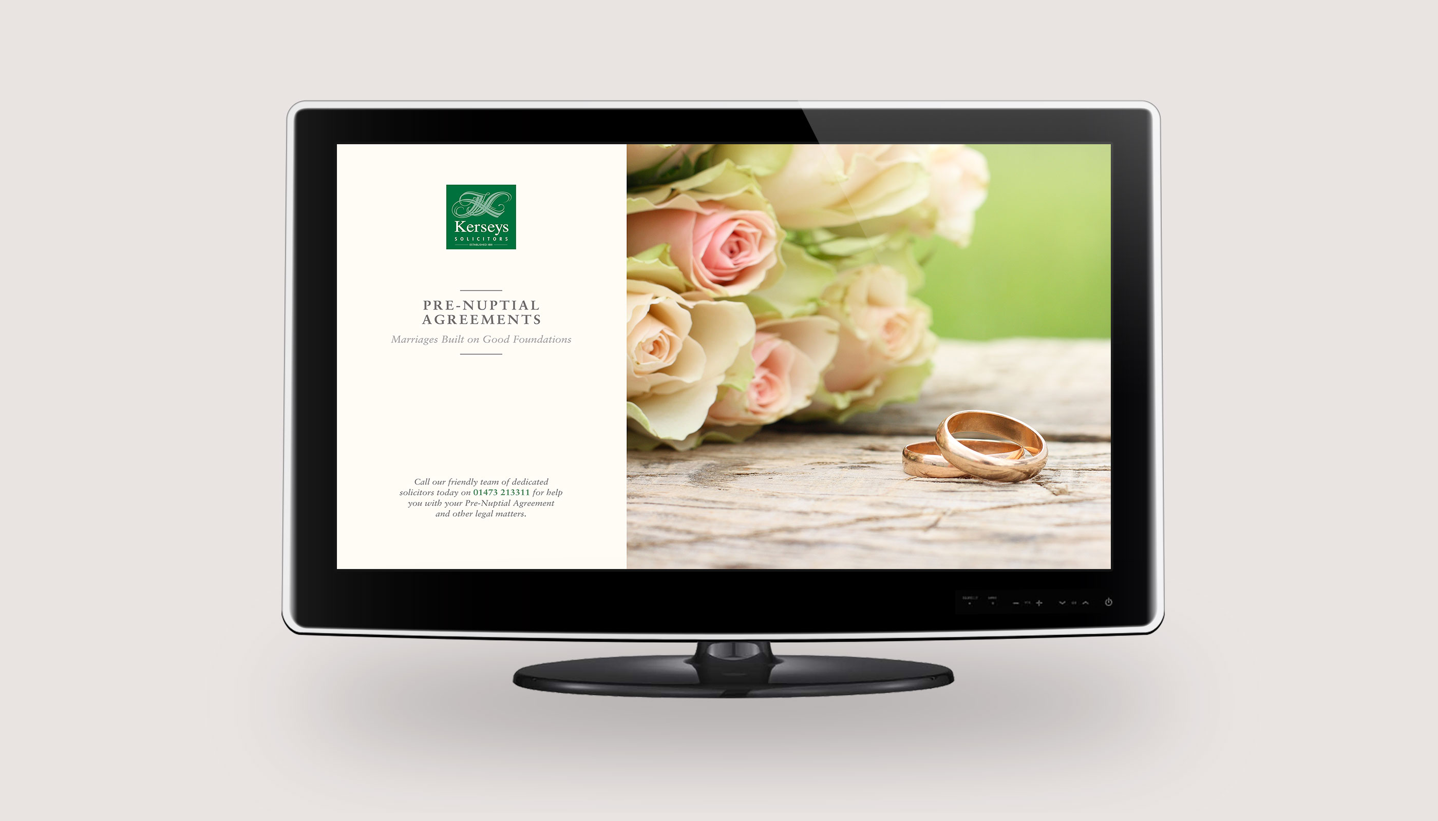 TV wallpaper advert design for Kerseys Solicitors in Ipswich, Suffolk.