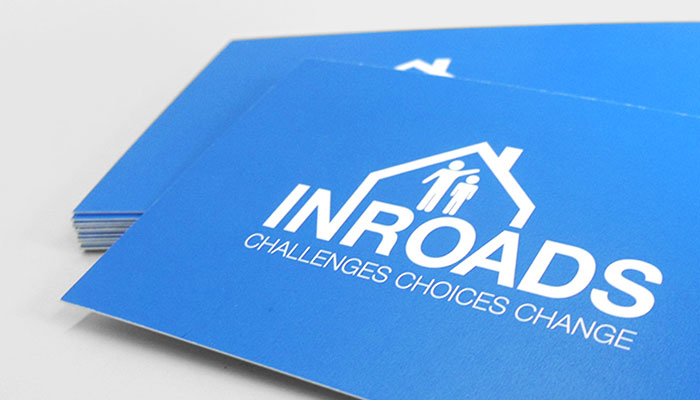 Business card design and print for Inroads Essex in Hadleigh, Essex.