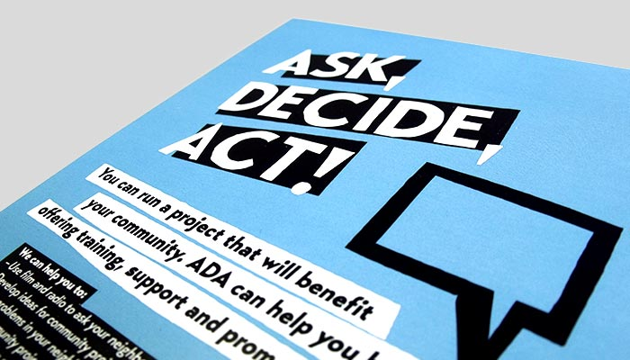 Flyer design for Ask, Decide, Act! in Ipswich, Suffolk.