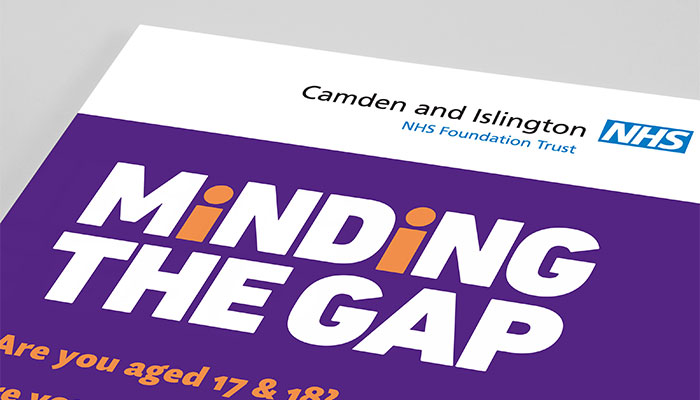 Flyer design for Camden and Islington NHS Foundation Trust in London.