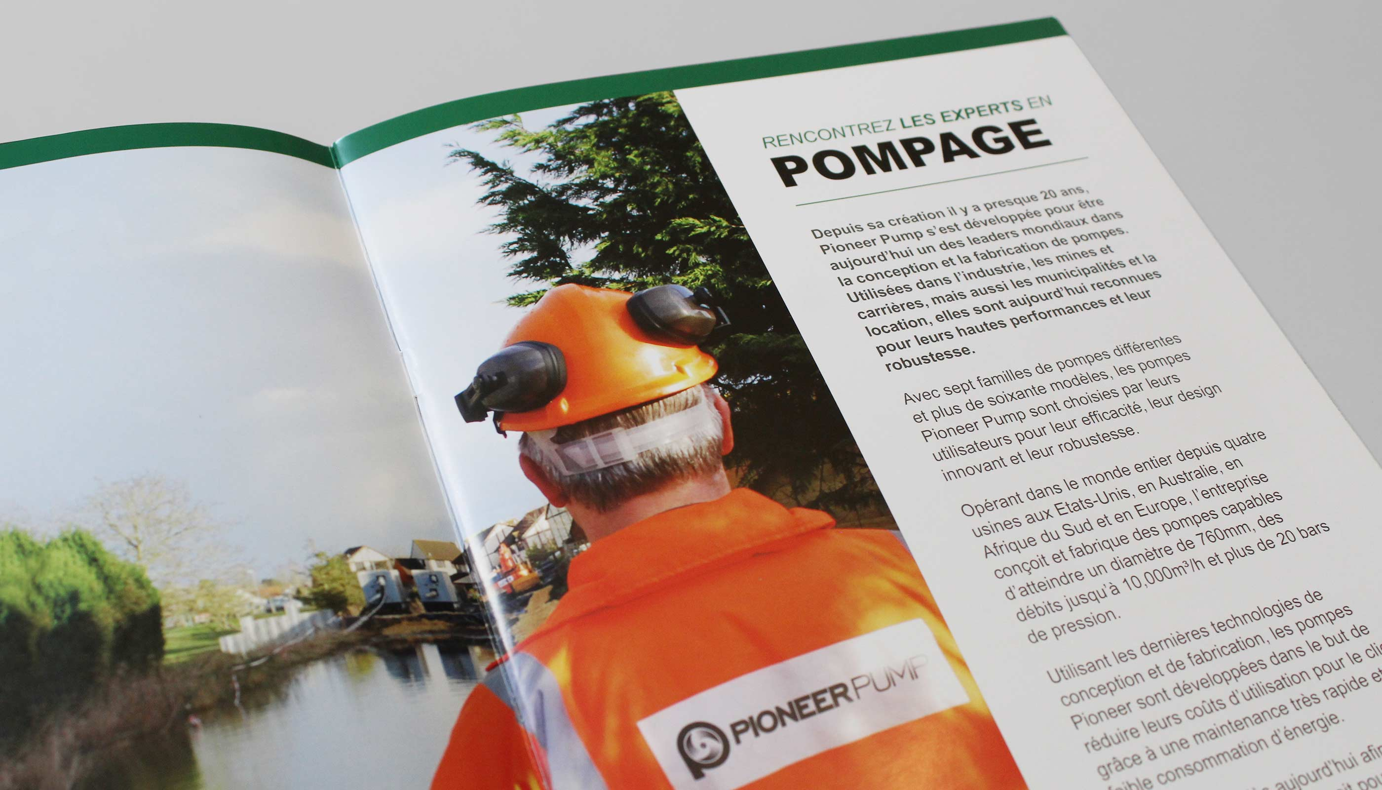 Corporate brochure design translated in French for Pioneer Pump in Suffolk, UK.