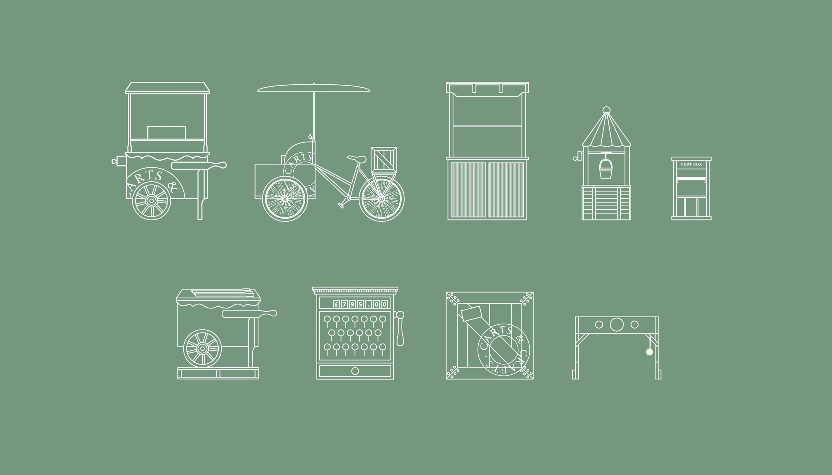 Icon illustrations for Carts & Crafts in Harwich, Essex.