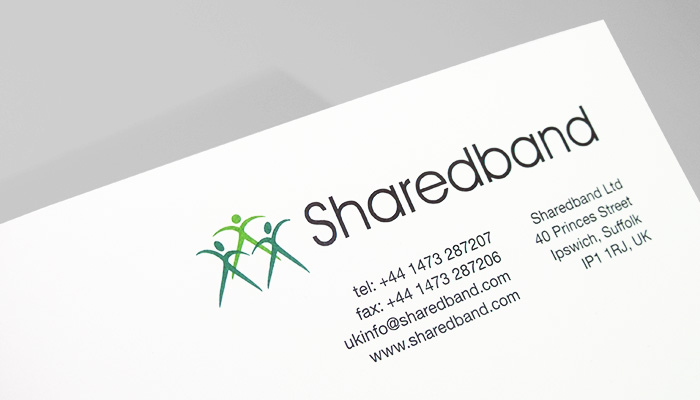 Letterhead design and print for Sharedband in Ipswich, Suffolk.