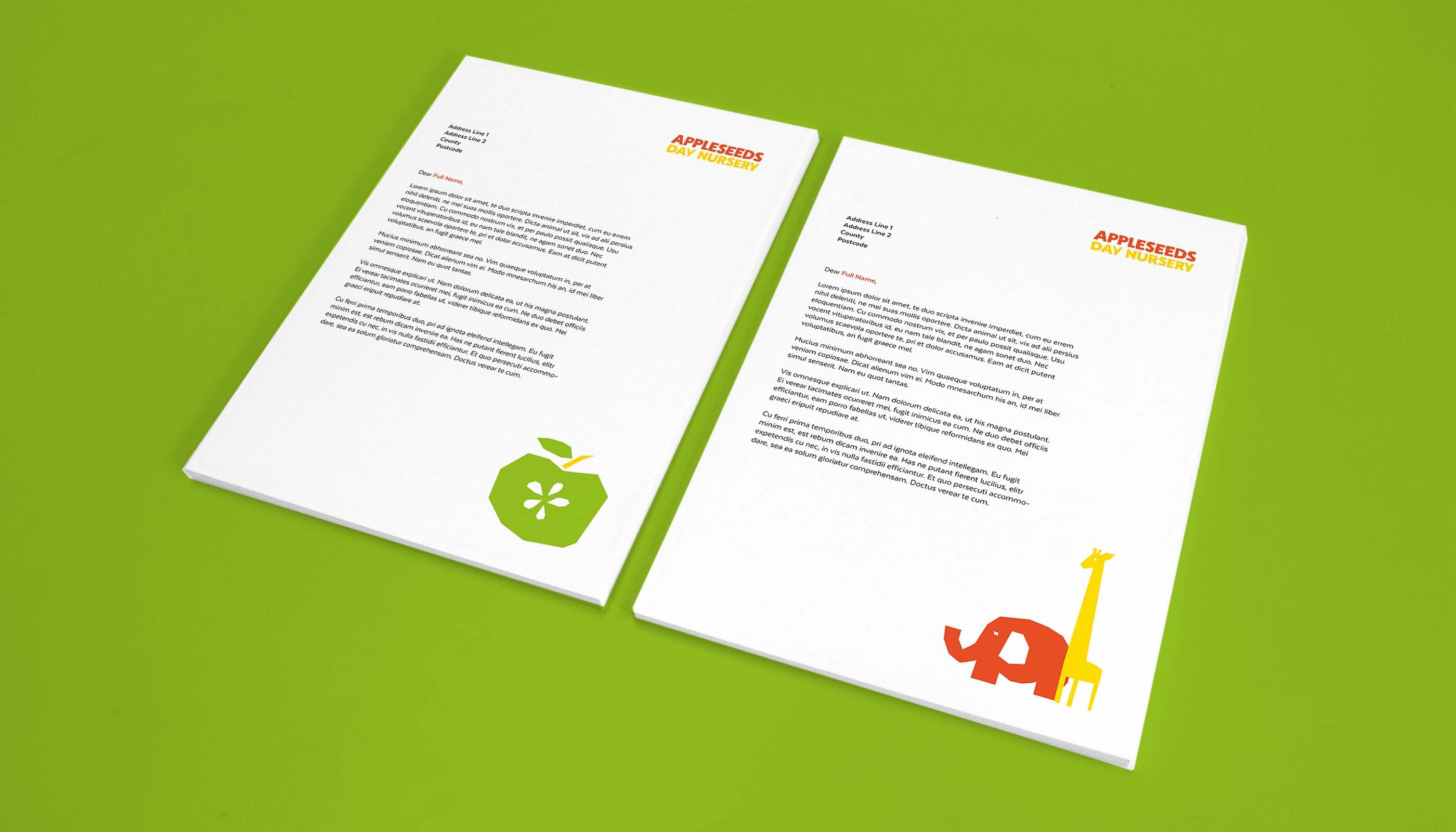 Proposed letterhead design for Appleseeds Day Nursery in Ipswich, Suffolk.