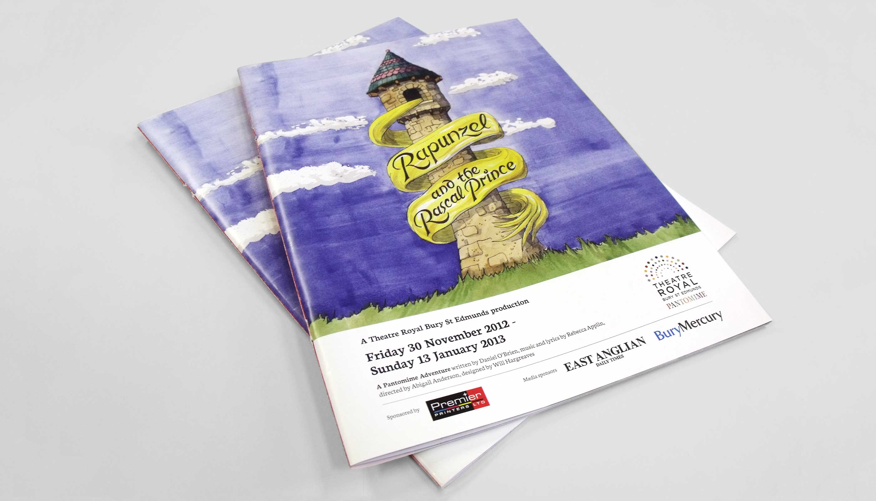 Pantomime programme design for Theatre Royal in Bury St Edmunds, Suffolk.