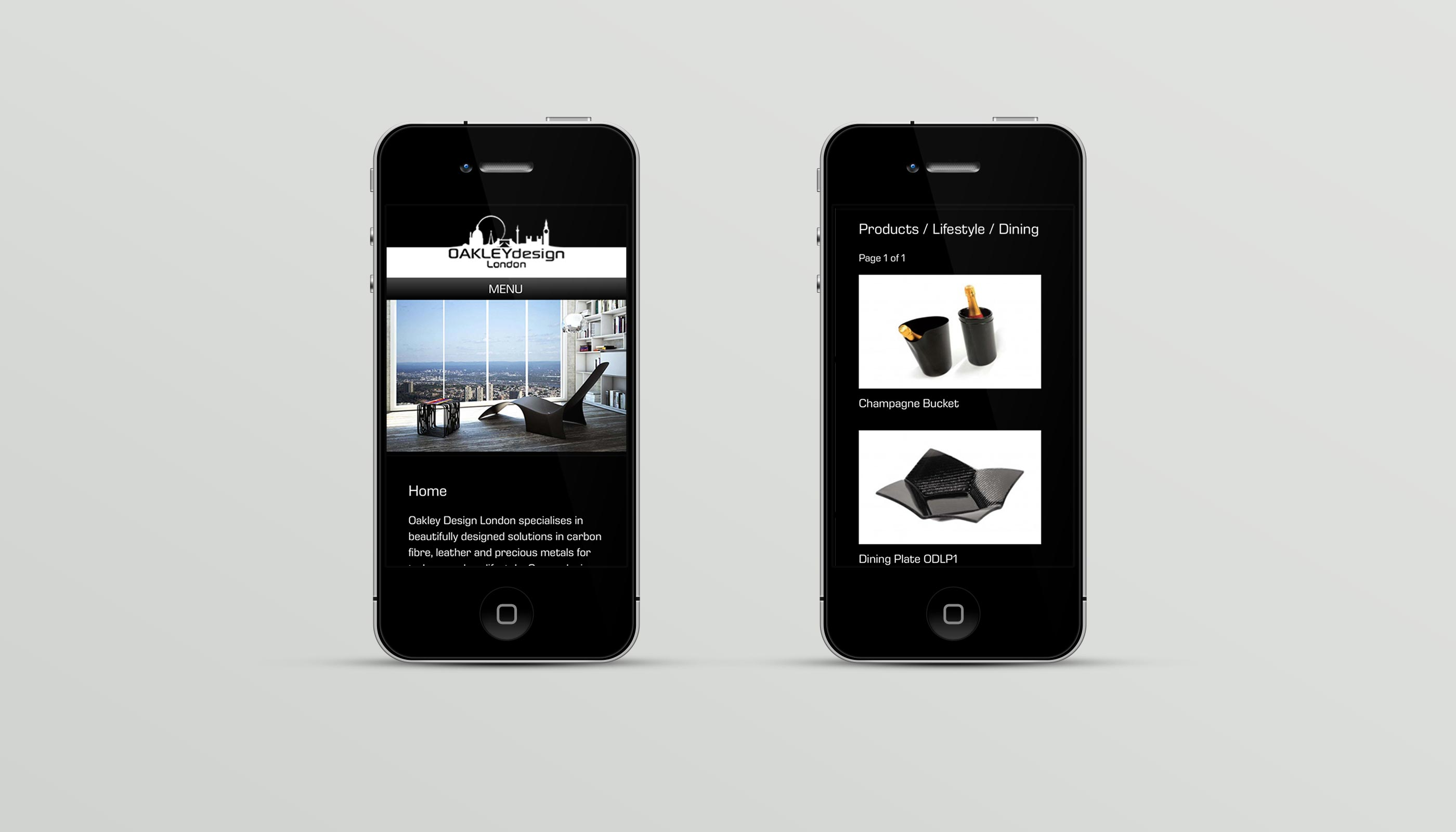 Responsive mobile website design for luxury goods retailer Oakley Design London.