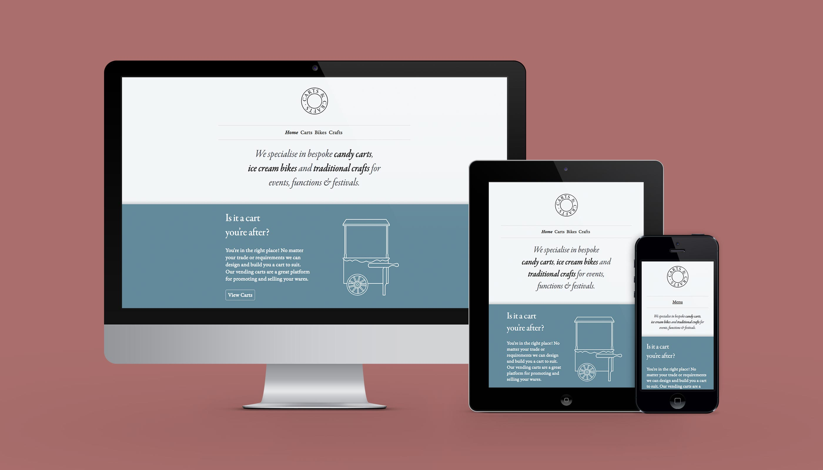 Responsive website design and development for Carts & Crafts in Harwich, Essex.