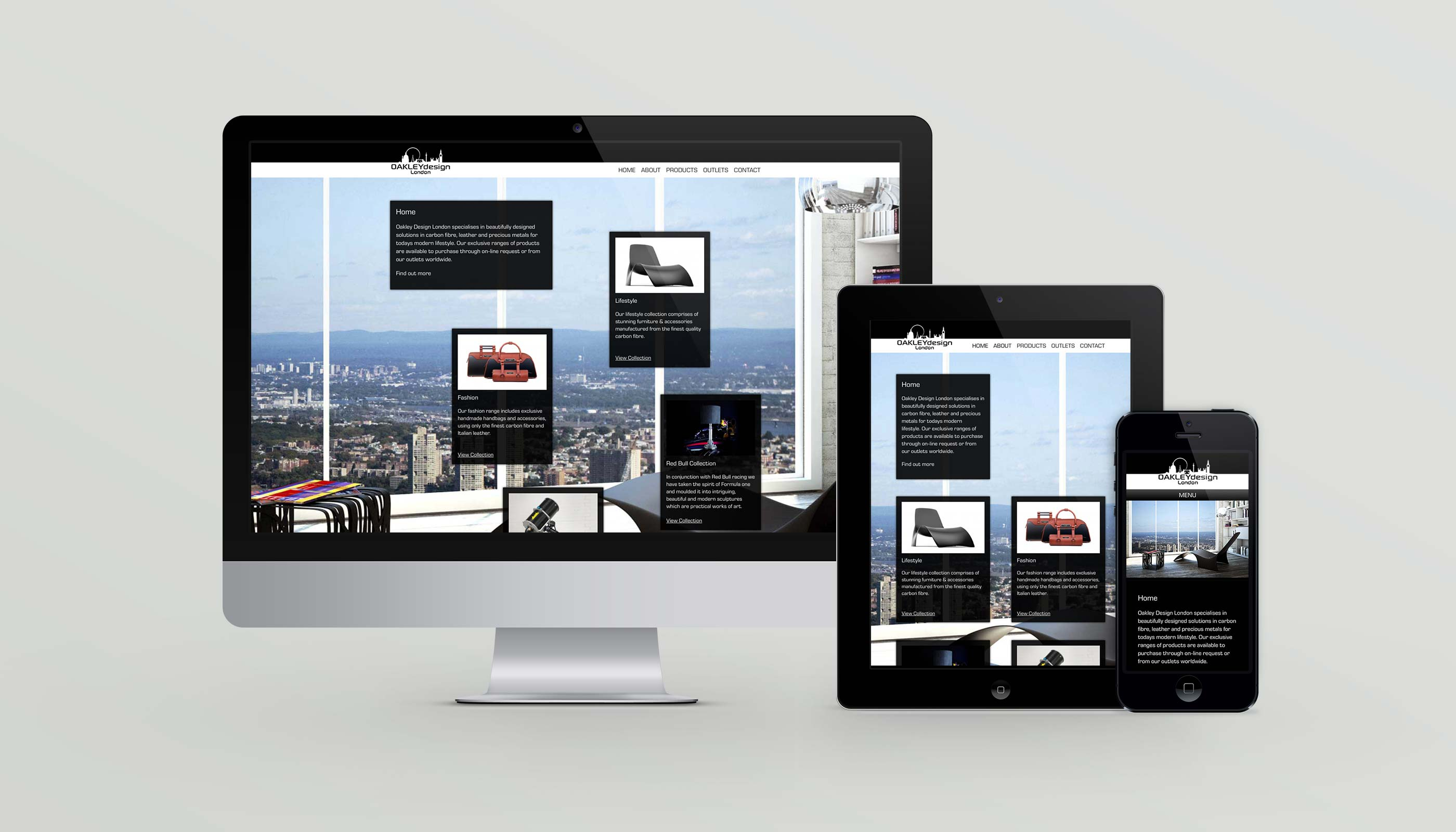 Responsive website design for luxury goods retailer Oakley Design London.