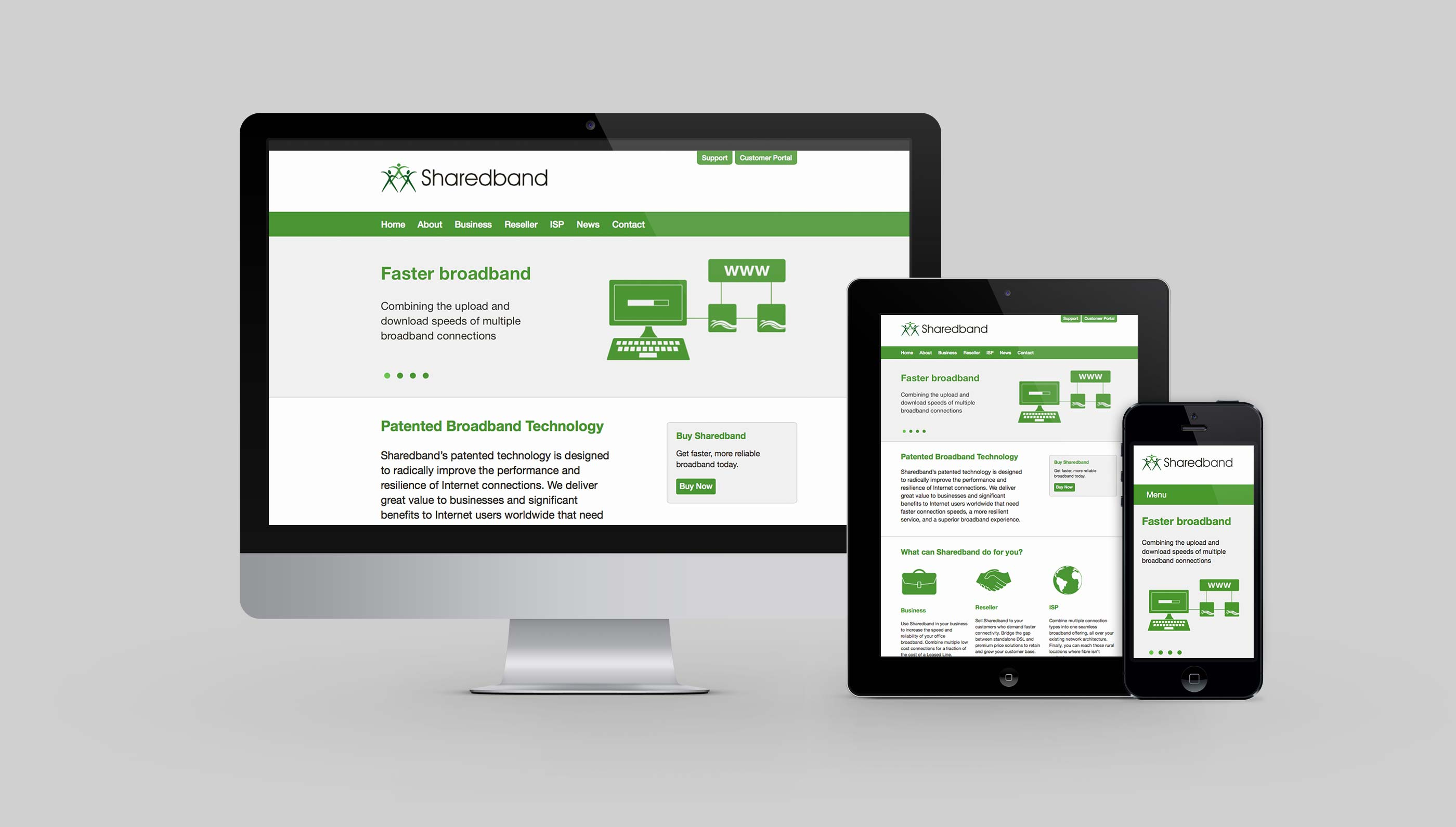 Responsive website design for Sharedband in Ipswich, Suffolk.