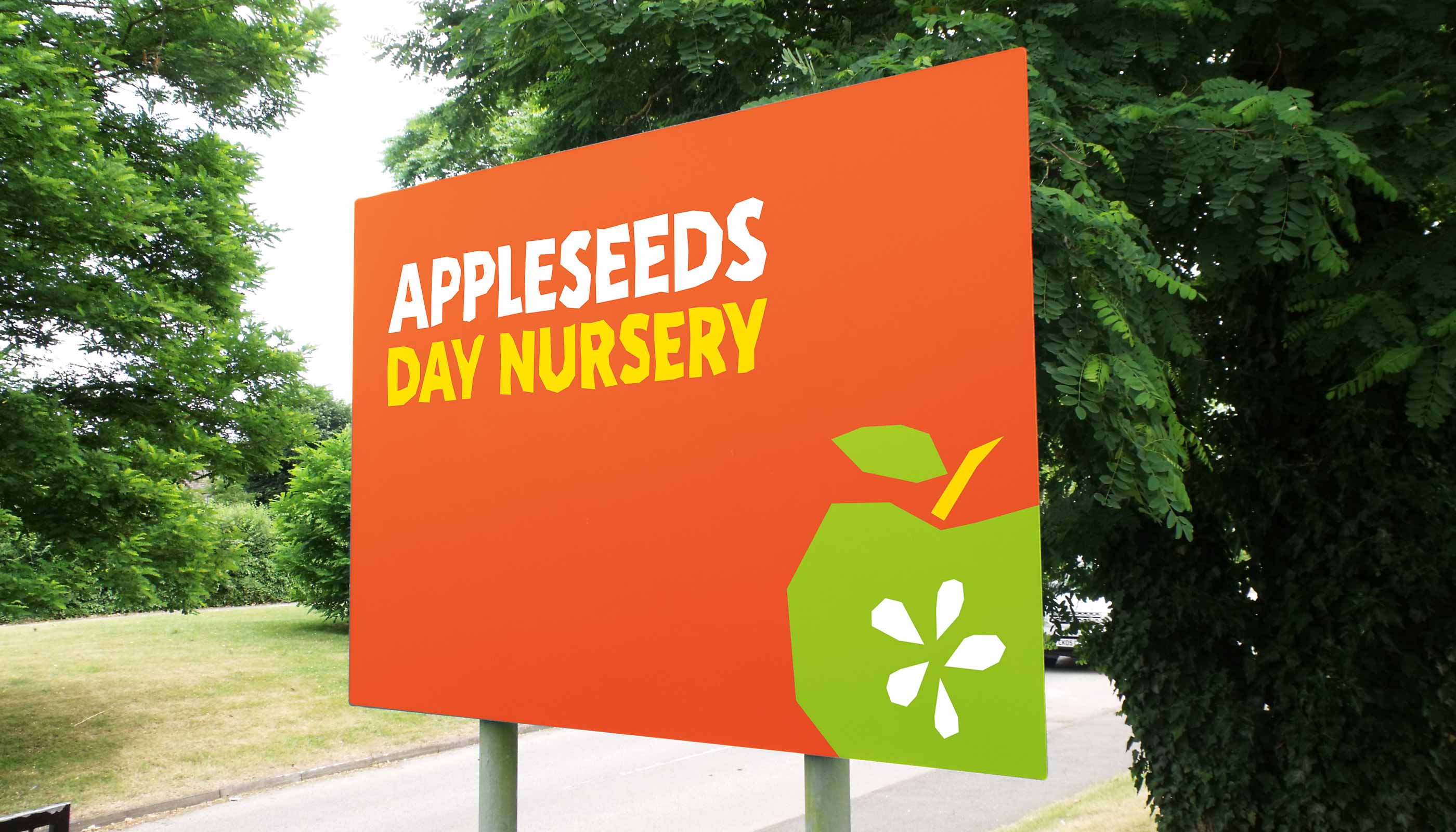 Proposed signage design for Appleseeds Day Nursery in Ipswich, Suffolk.