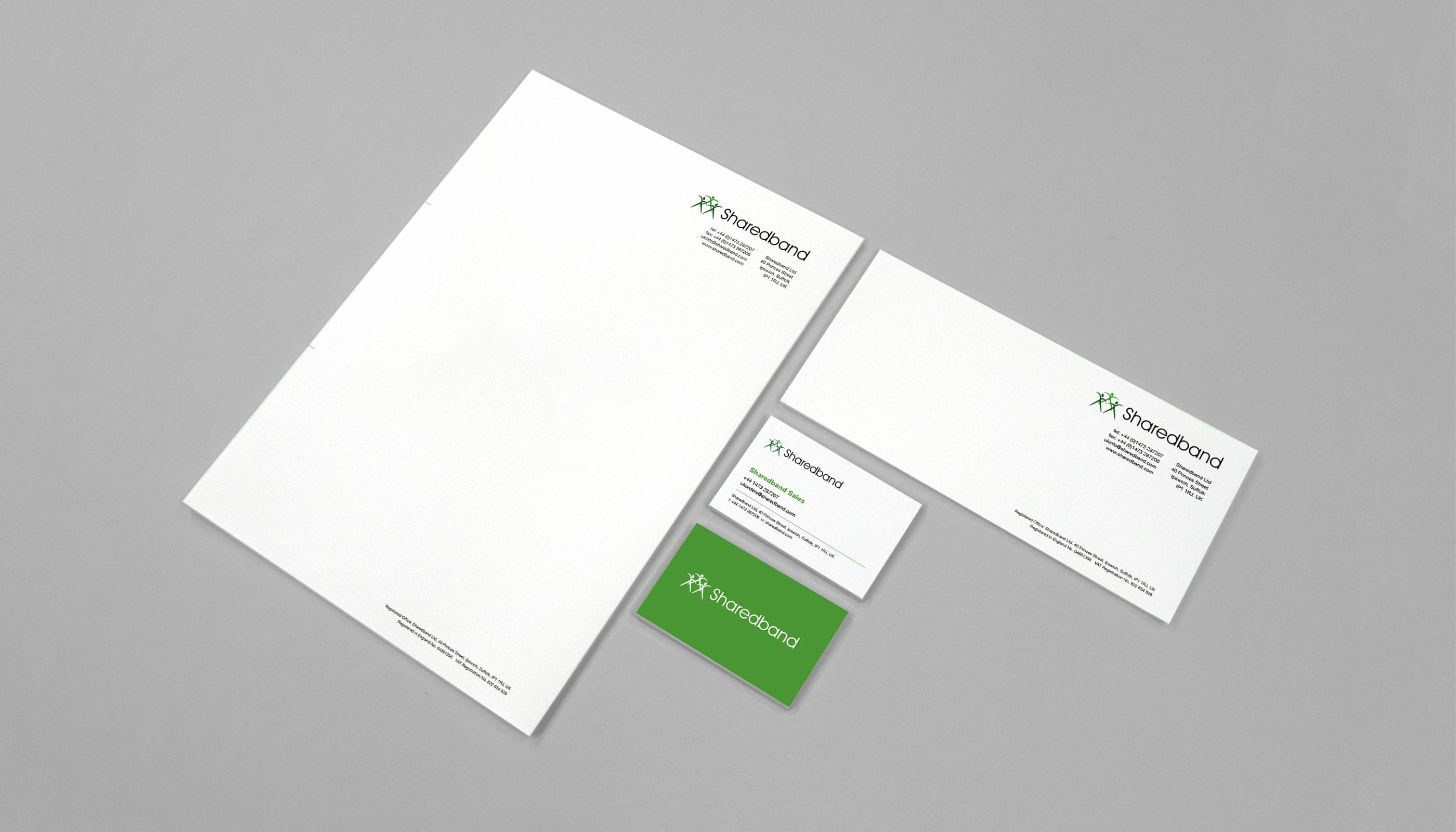 Stationery design and print for Sharedband in Ipswich, Suffolk.