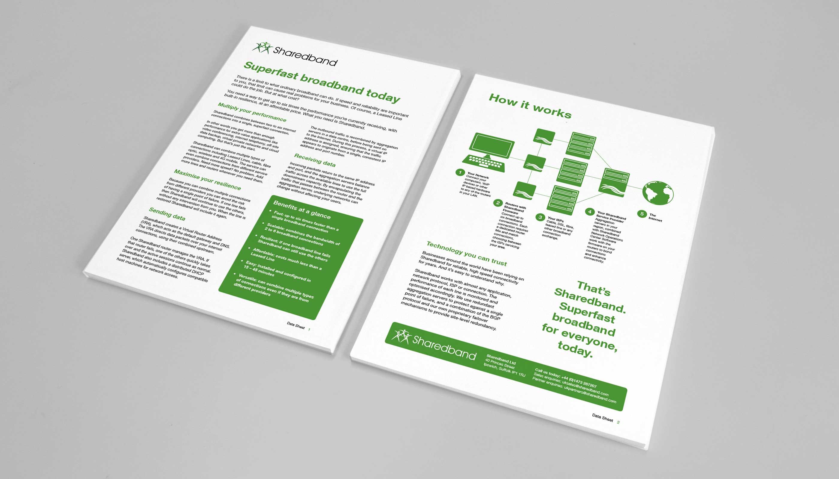 Technical data sheet designs for Sharedband in Ipswich, Suffolk.