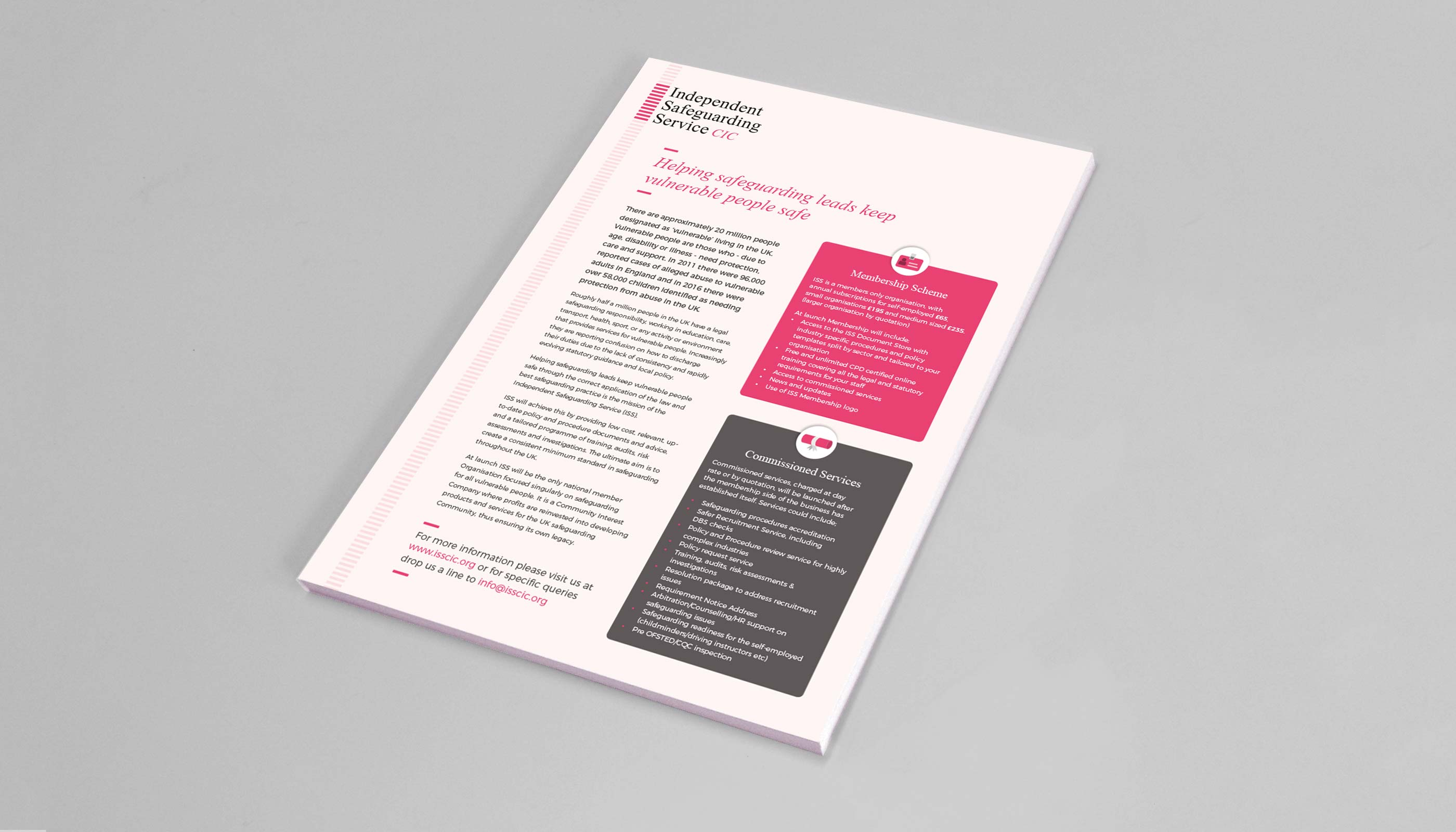 A4 information flyer design for Independent Safeguarding Service CIC, in London.