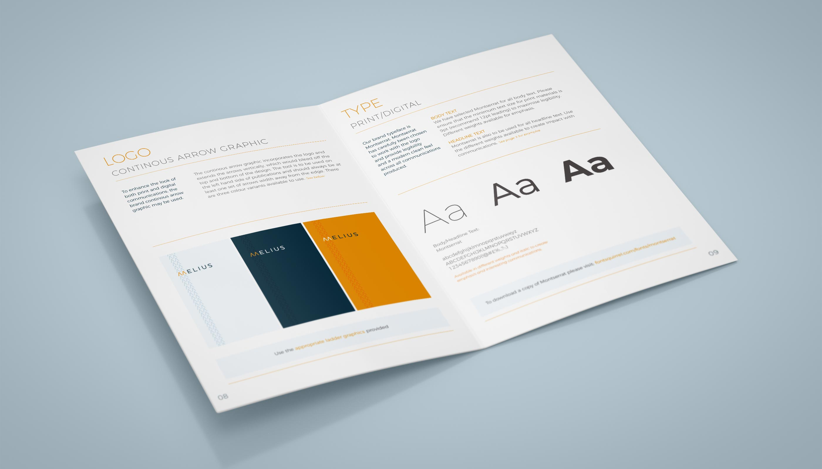 Brand guidelines for Melius in Ipswich, Suffolk.