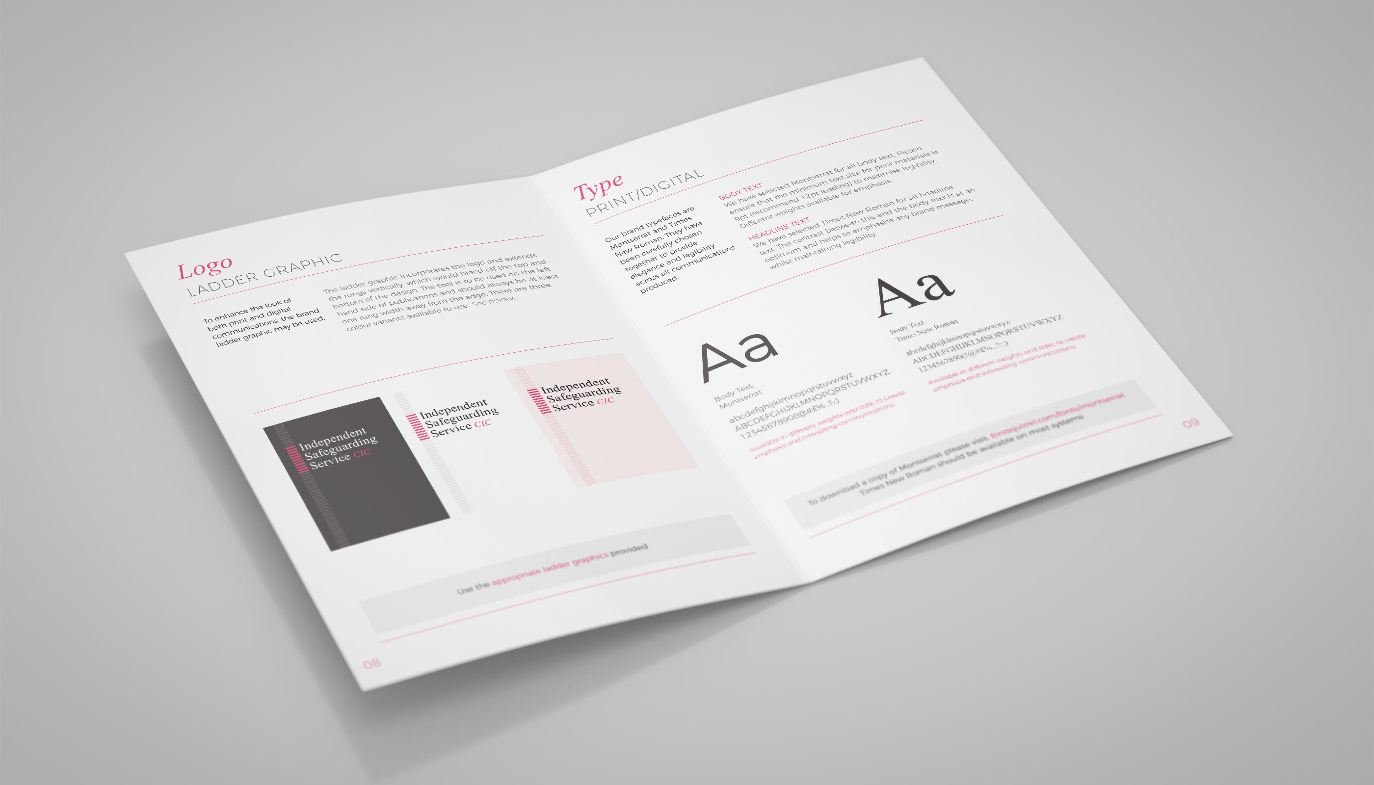 Brand Guidelines design for Independent Safeguarding Service CIC, in London.