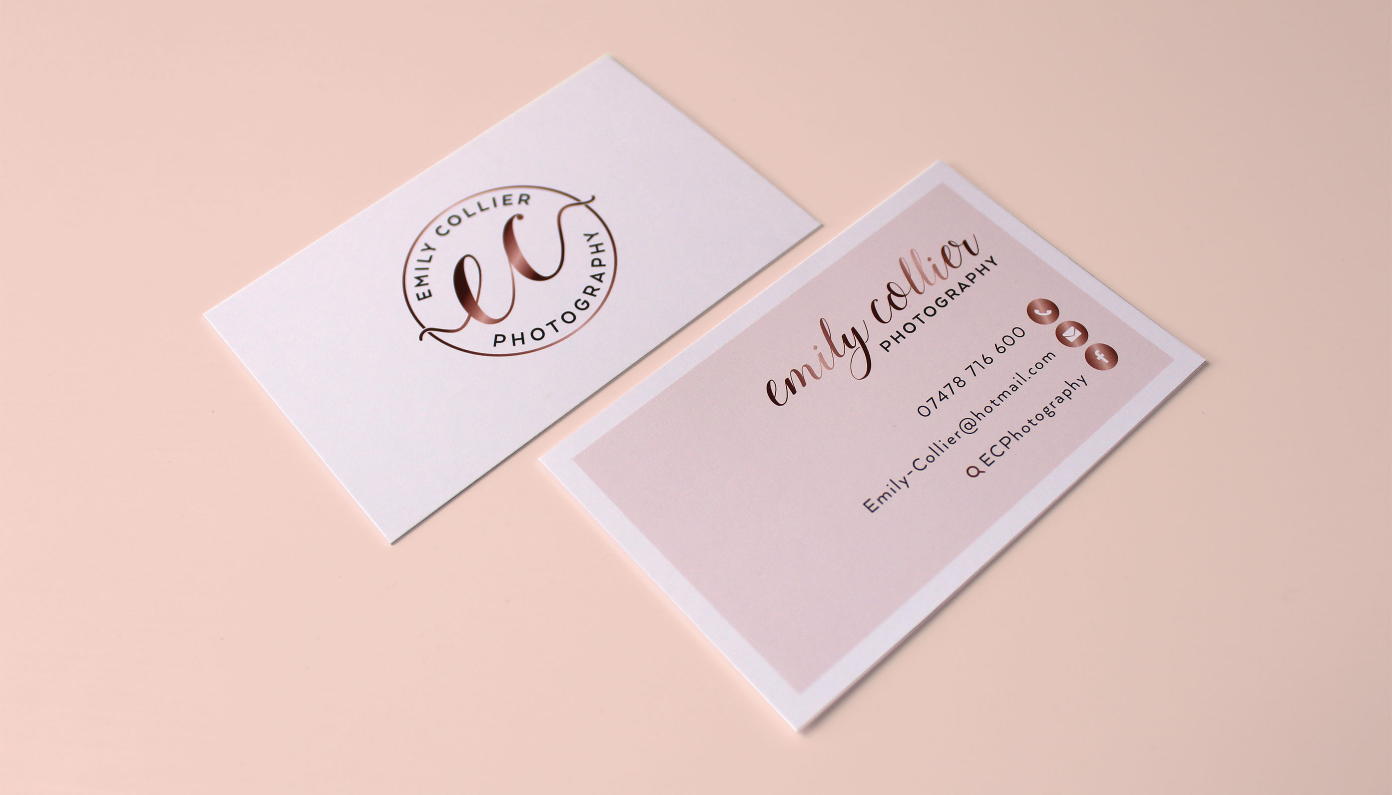 Business cards design and print for EC Photography in Harwich, Essex.