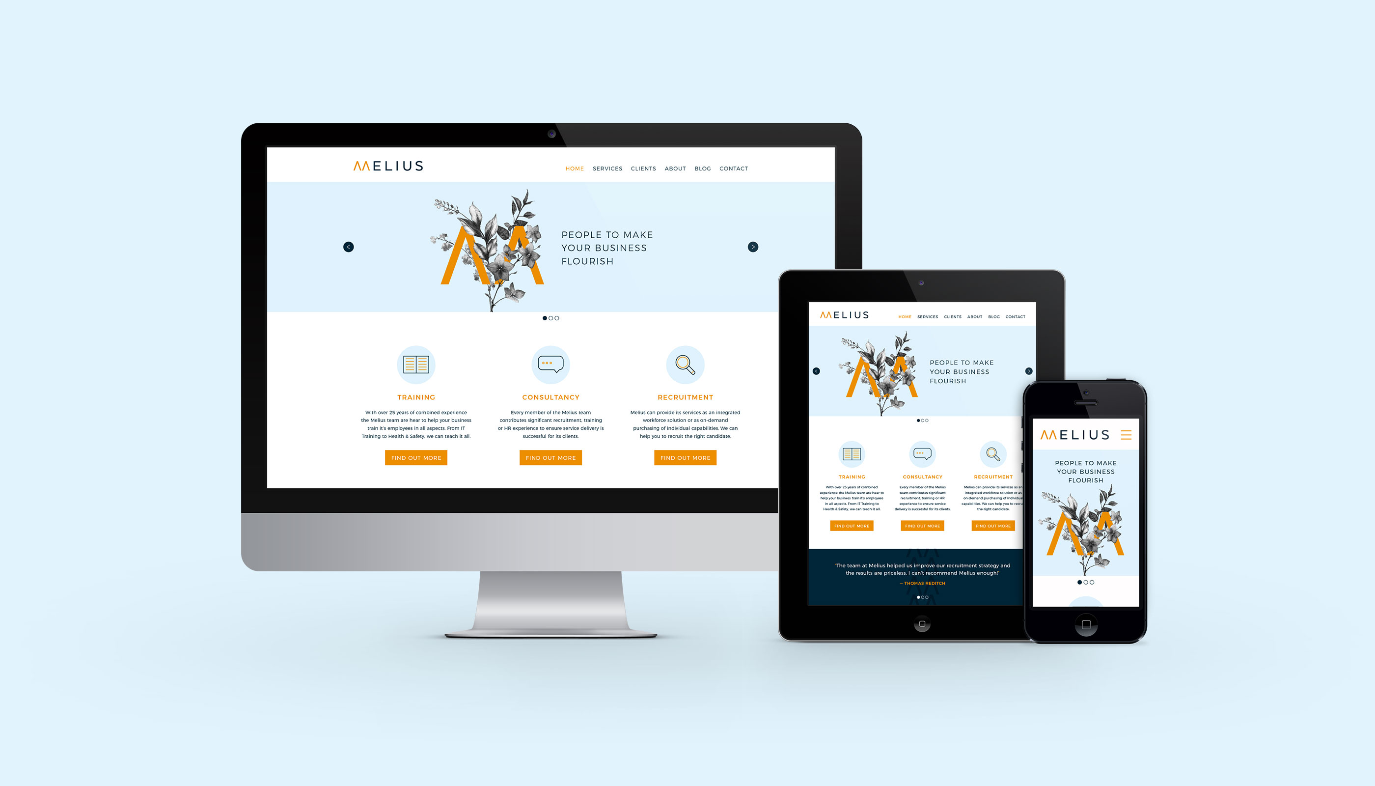 Responsive website design for Melius in Ipswich, Suffolk.